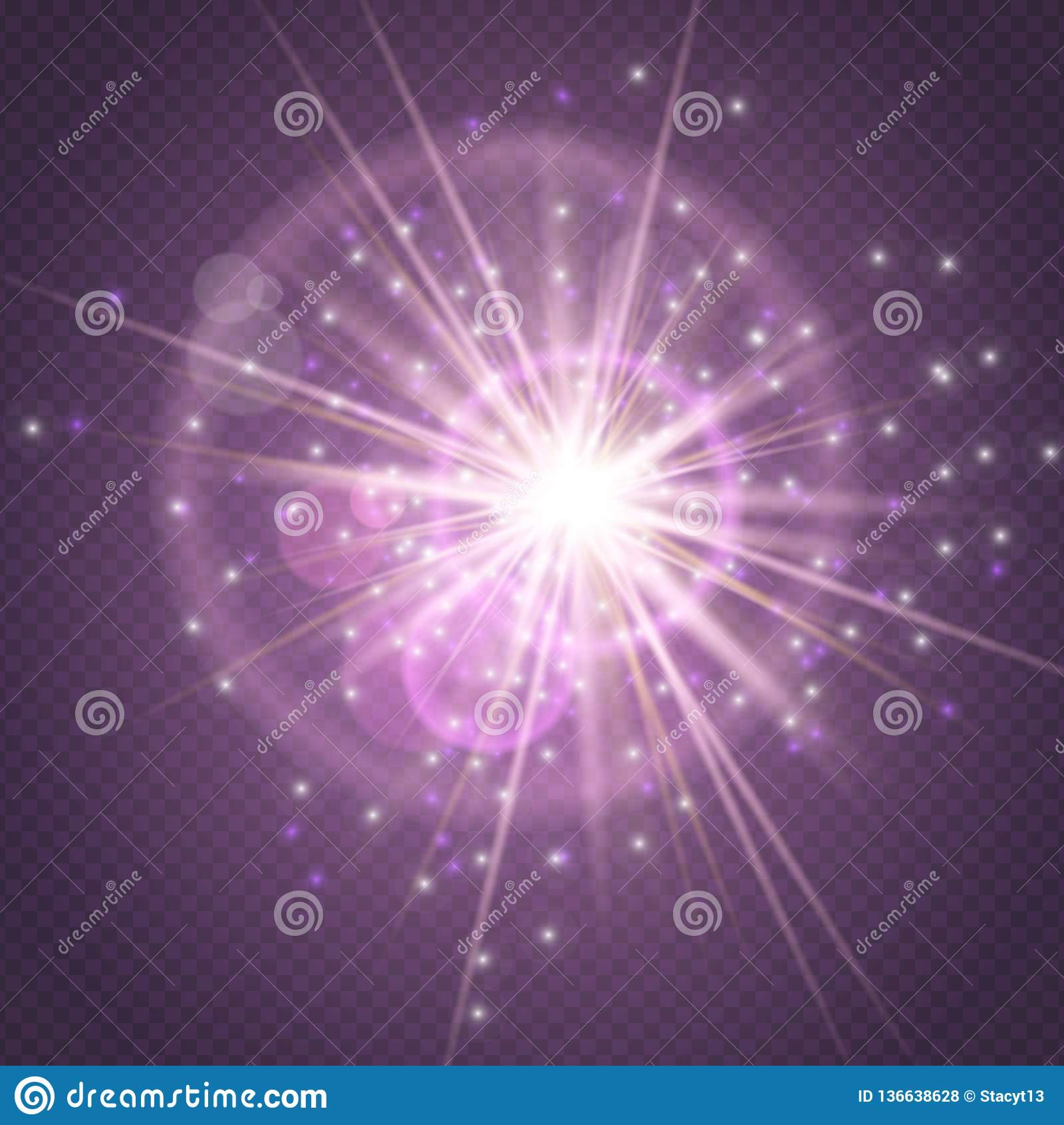 Οι σπινθήρες ακτινοβολούν καμμένος, πυράκτωση έκρηξης έκρηξης αστεριών και φλόγα φακών που απομονώνονται στο πορφυρό διαφανές υπό