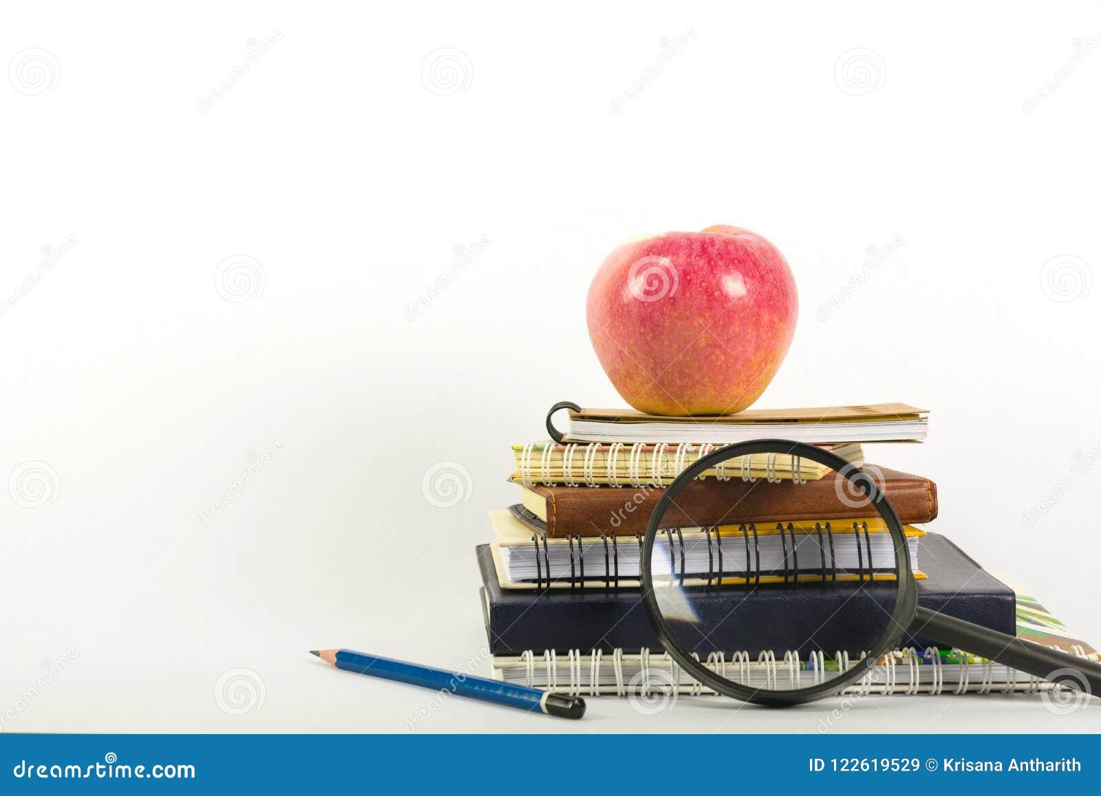 Οι σχολικές προμήθειες που απομονώνονται στο άσπρο υπόβαθρο με το διάστημα αντιγράφων