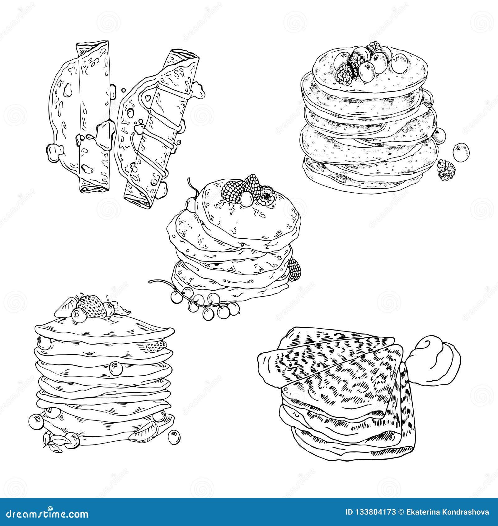 Οι τηγανίτες και crepes το σύνολο Διανυσματικό σκίτσο