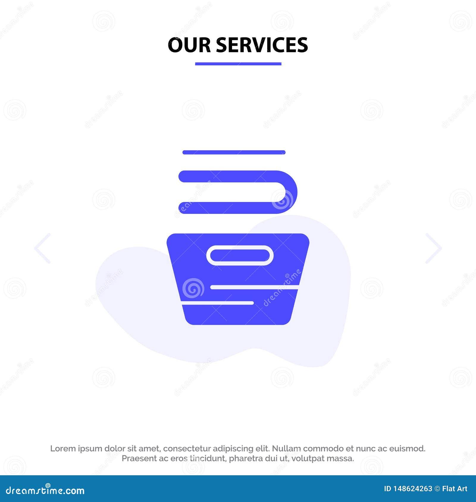 Οι υπηρεσίες μας που καθαρίζουν, ενδύματα, οικοκυρική, πλένοντας στερεό πρότυπο καρτών Ιστού εικονιδίων Glyph