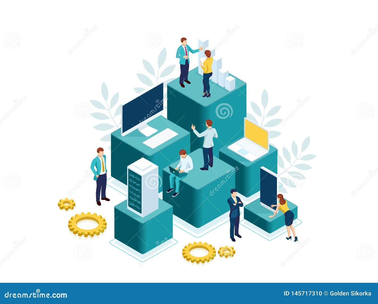 Οι Isometric άνθρωποι εργάζονται σε μια ομάδα και επιτυγχάνουν το στόχο Άνθρωποι που αλληλεπιδρούν με τα διαγράμματα και που αναλ