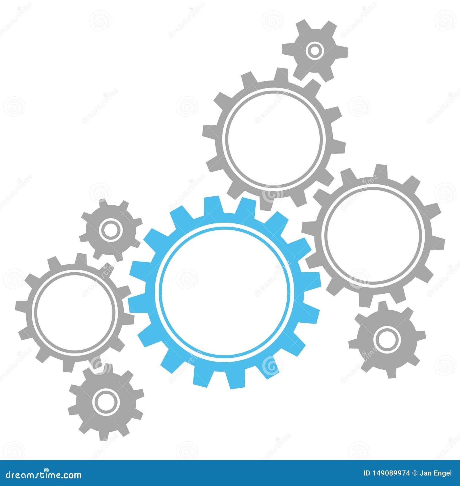 Οκτώ γραφικά εργαλεία μπλε και γκρίζα