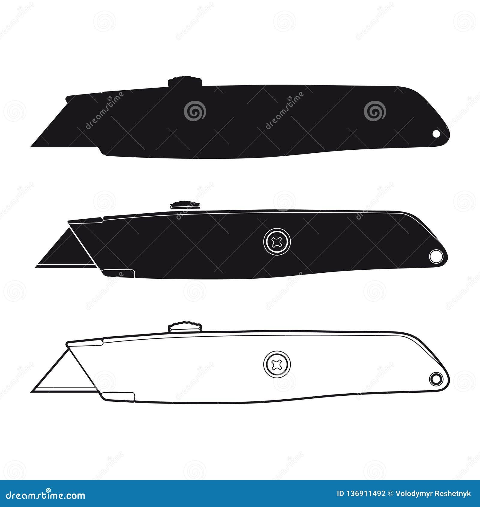 Ολίσθηση εικονιδίων μαχαιριών χρησιμότητας στο άσπρο υπόβαθρο