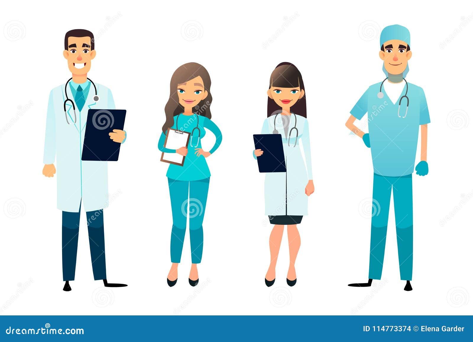 Ομάδα γιατρών και νοσοκόμων Ιατρικό προσωπικό κινούμενων σχεδίων Έννοια ιατρικής ομάδας Χειρούργος, νοσοκόμα και θεράπων στο νοσο