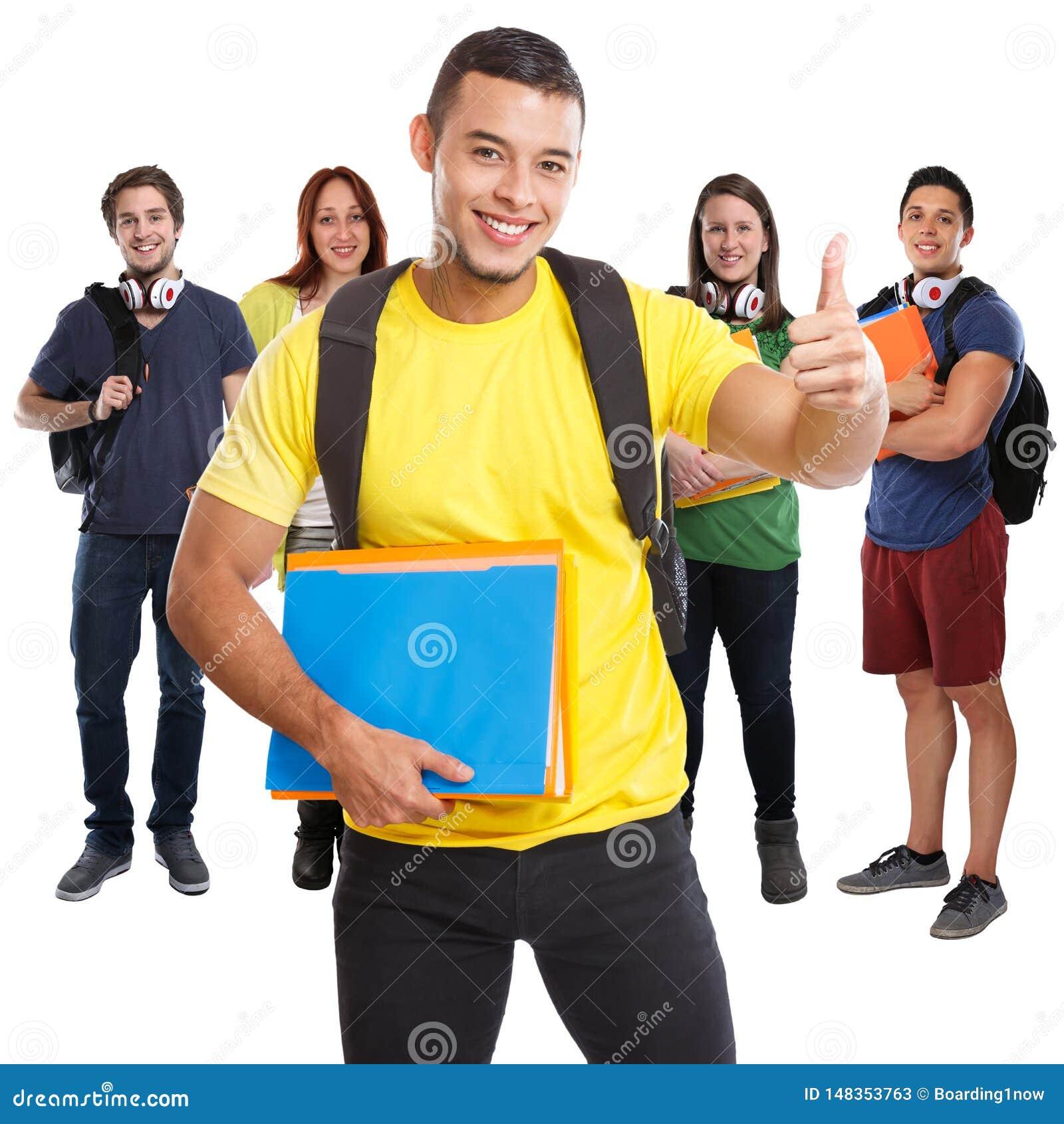 Ομάδα επιτυχών αντίχειρων επιτυχίας σπουδαστών που χαμογελούν επάνω τους τετραγωνικούς ανθρώπους που απομονώνονται στο λευκό
