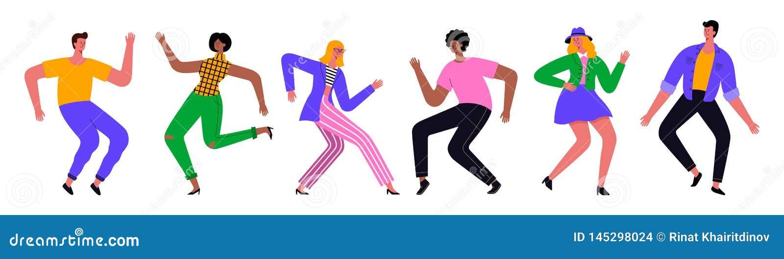 Ομάδα ευτυχών χορεύοντας νέων ή αρσενικών και θηλυκών χορευτών Διανυσματικό επίπεδο σχέδιο απεικόνισης