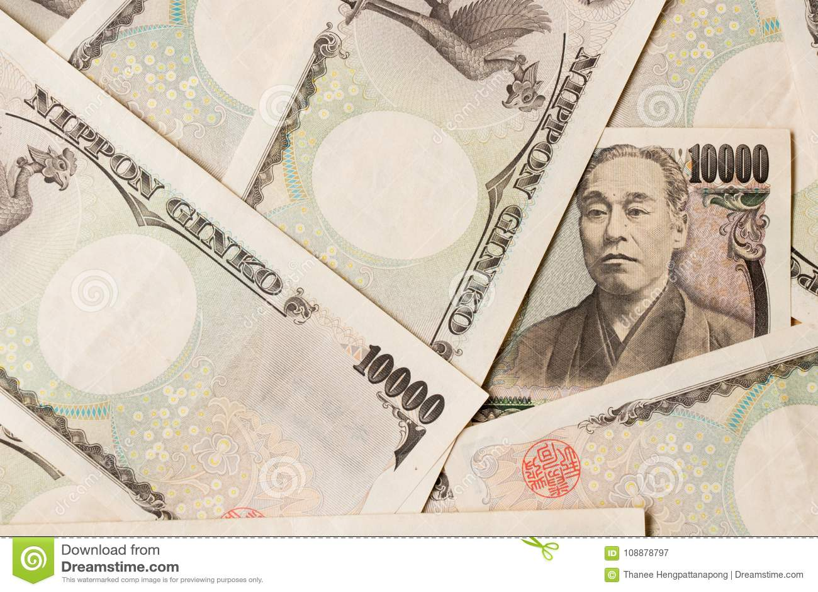 Ομάδα ιαπωνικού τραπεζογραμματίου υπόβαθρο 10000 γεν