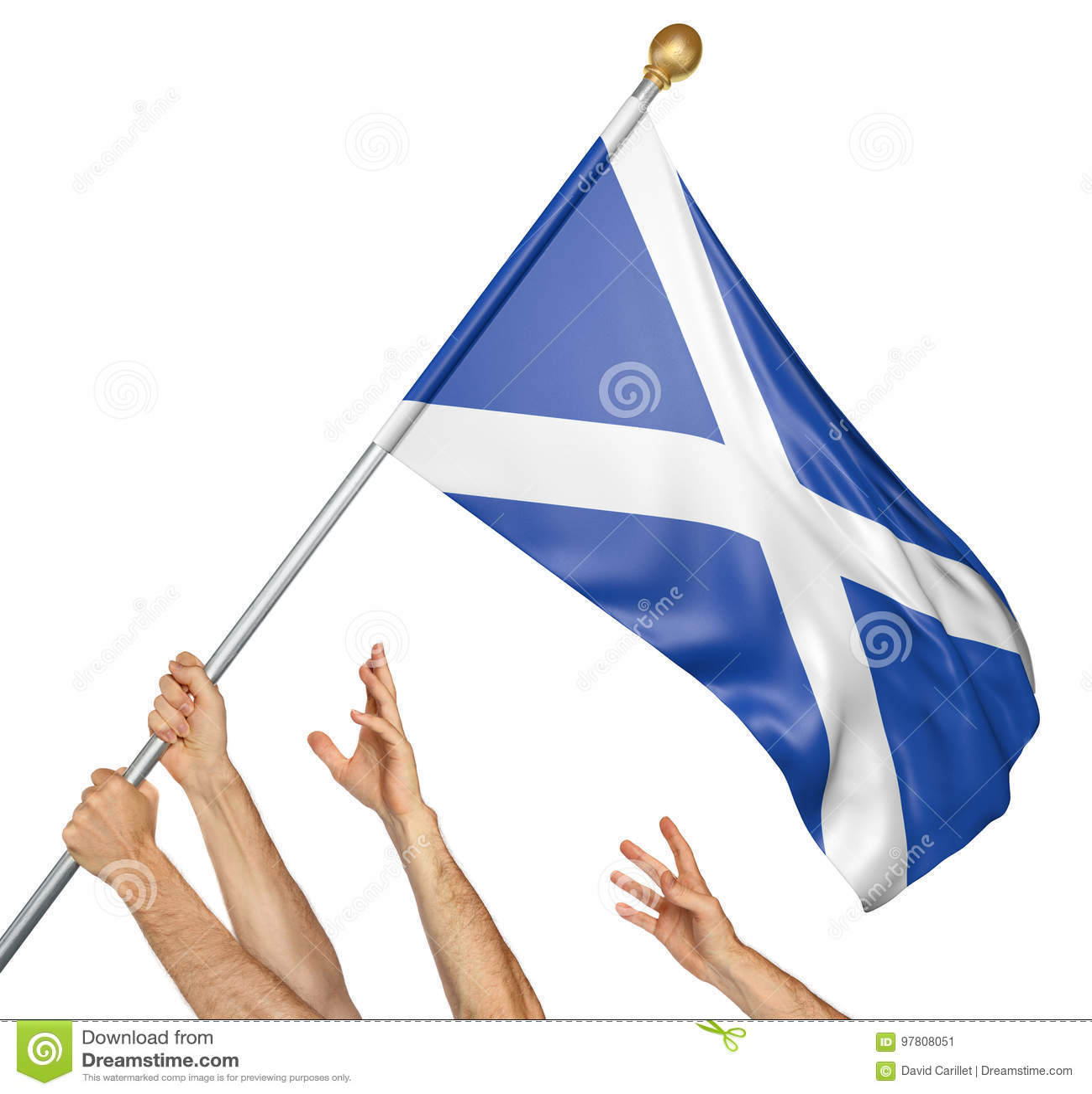 Ομάδα των χεριών λαών που αυξάνει τη εθνική σημαία της Σκωτίας