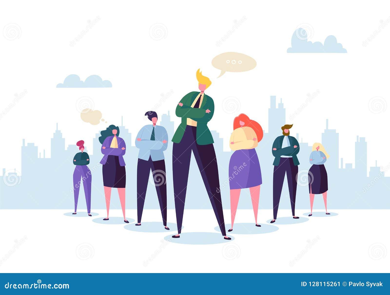 Ομάδα χαρακτήρων επιχειρηματιών με τον ηγέτη Έννοια ομαδικής εργασίας και ηγεσίας επιχειρηματίας επιτυχής