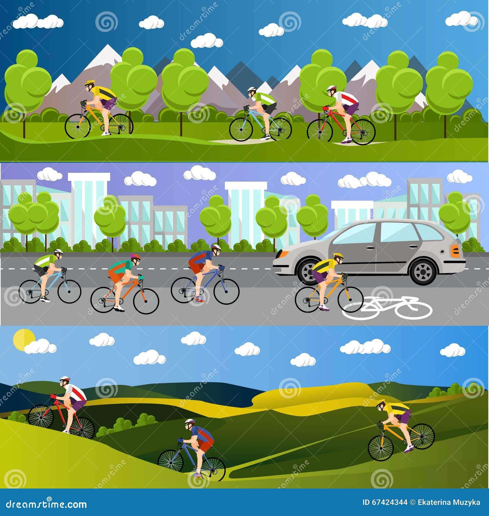 Ομάδα αναβατών ποδηλάτων στα ποδήλατα στα βουνά, το δρόμο πόλεων και το πάρκο Αθλητικά εμβλήματα Biking Διανυσματικό επίπεδο ύφος
