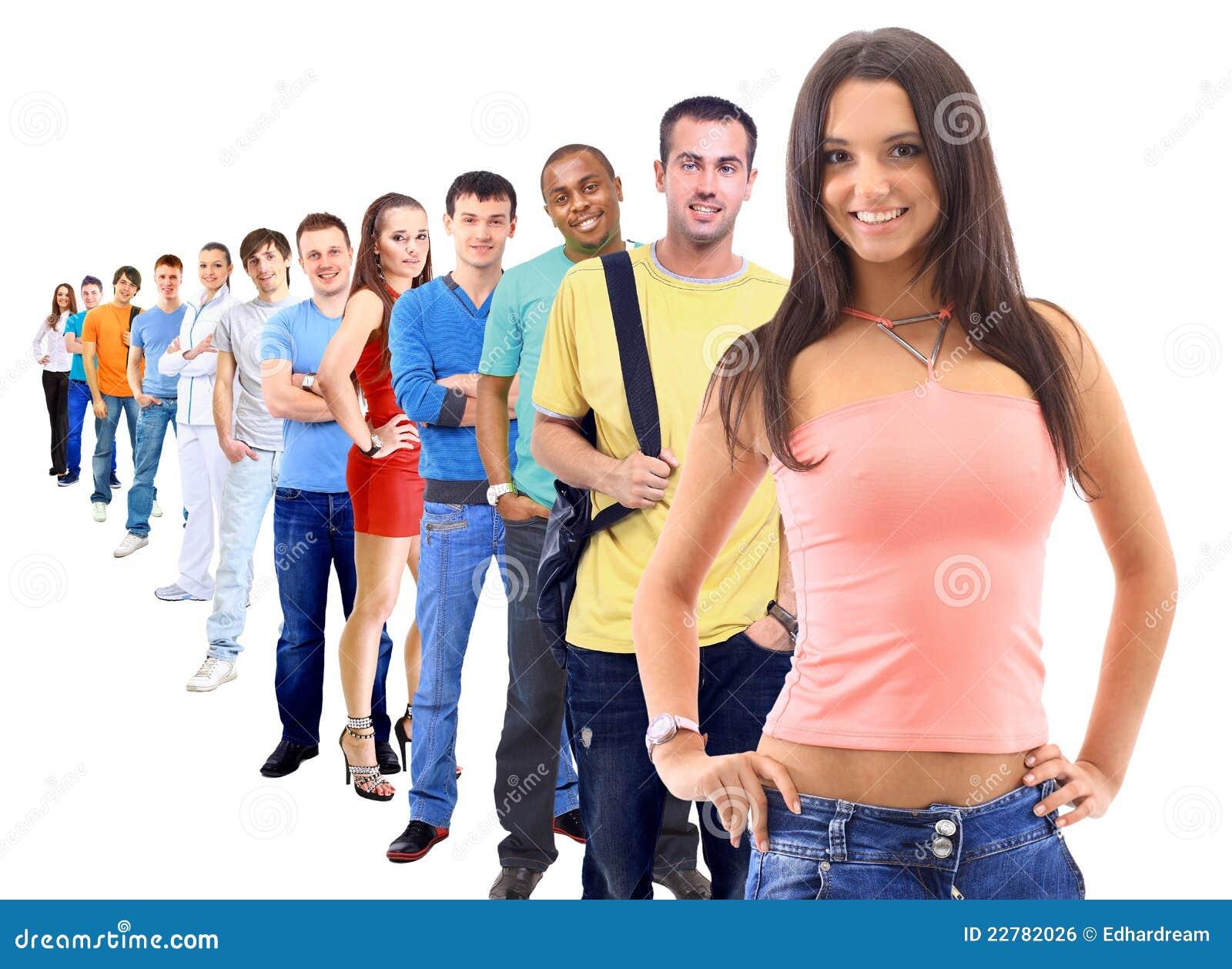Ομάδα ανθρώπων στο λευκό