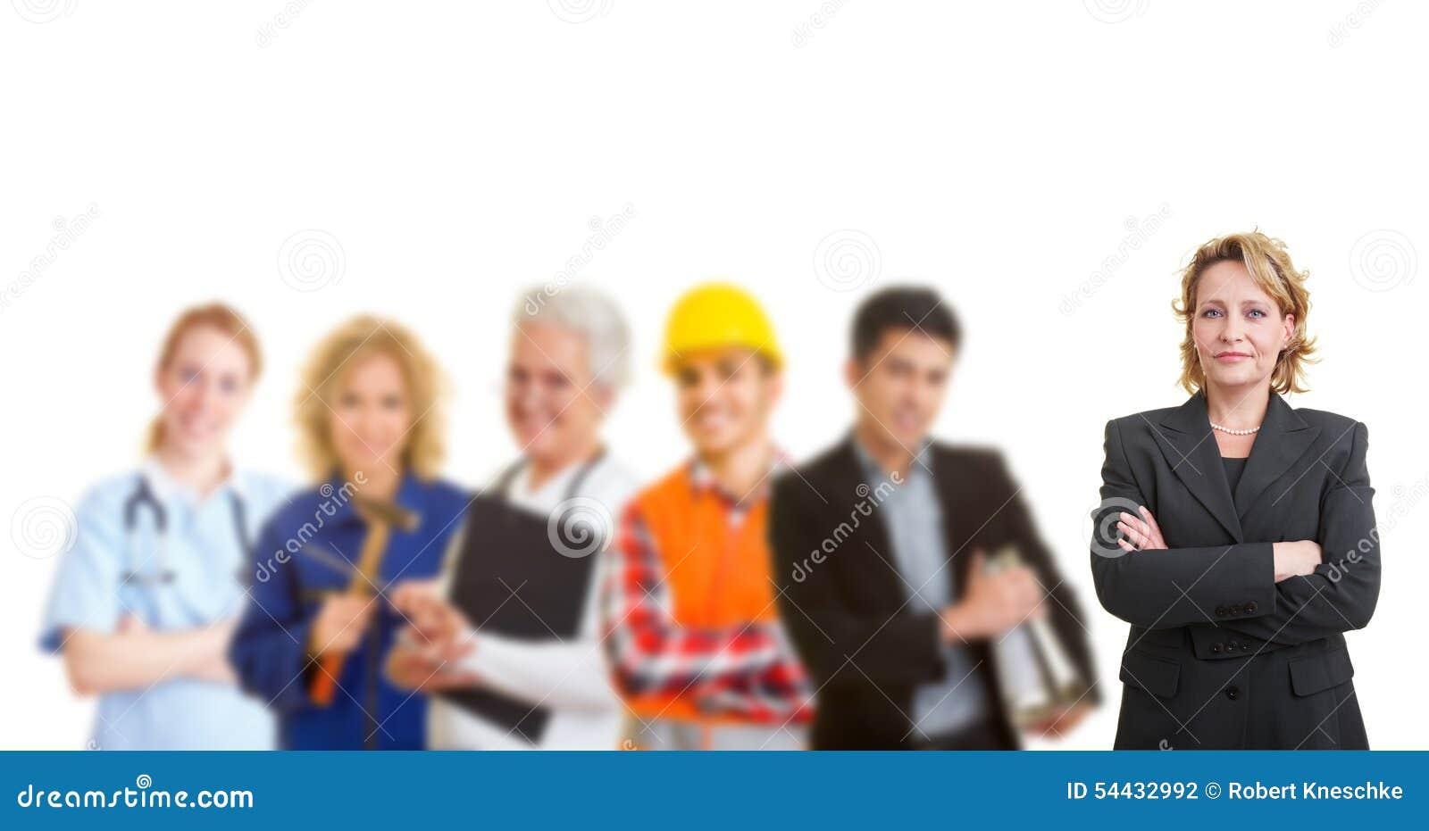 Ομάδα με τα διαφορετικά επαγγέλματα και τα εμπόρια