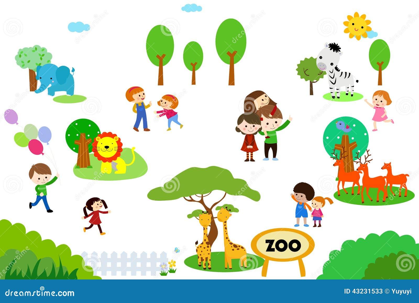 Ομάδα παιδιών στο ζωολογικό κήπο