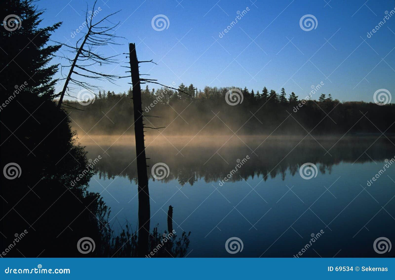 ομίχλη πέρα από τη λίμνη