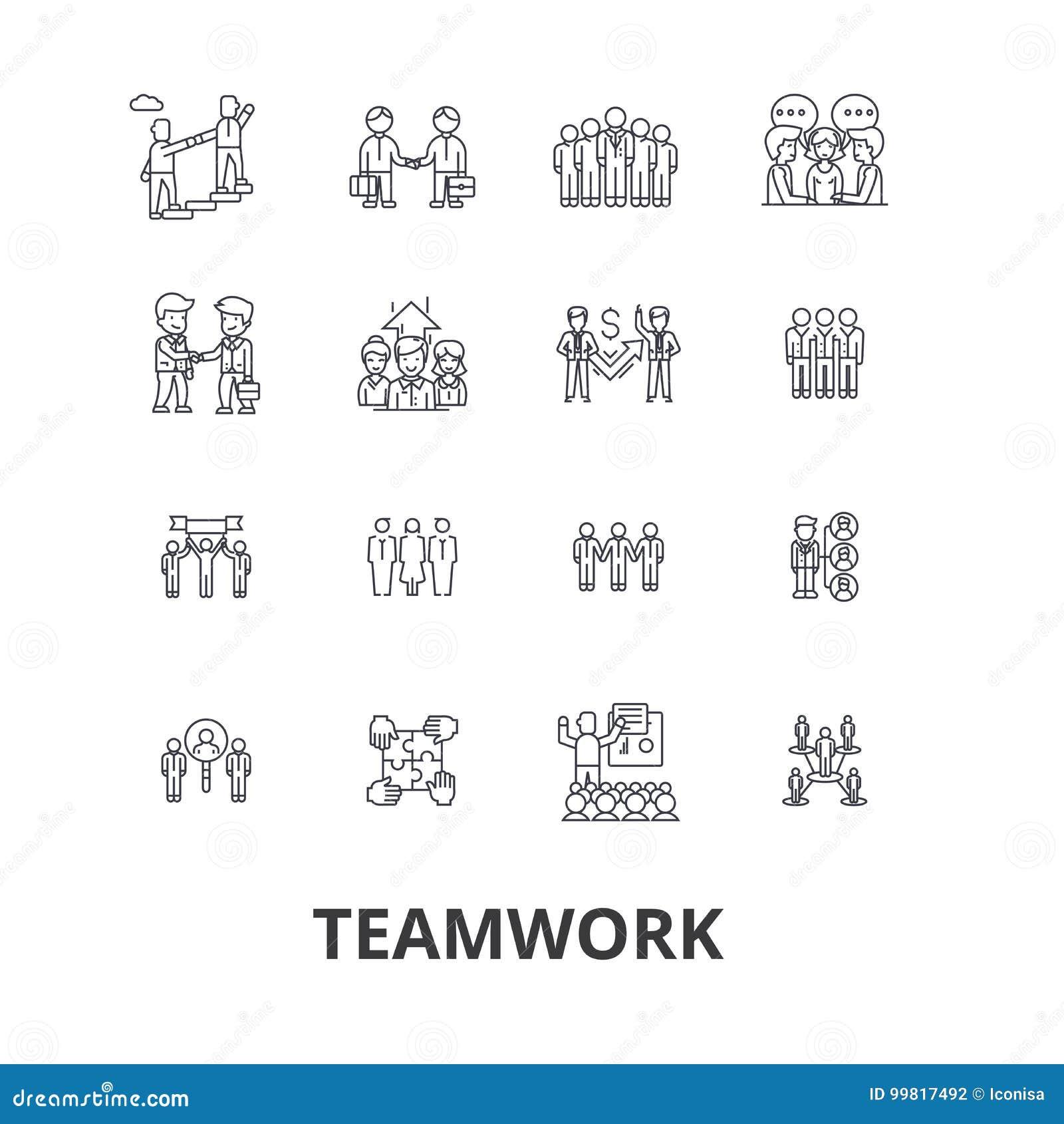 Ομαδική εργασία, ομάδα, έννοια, που λειτουργεί μαζί, συνεργασία, επιτυχία, εικονίδια γραμμών συνεργασίας Κτυπήματα Editable Επίπε