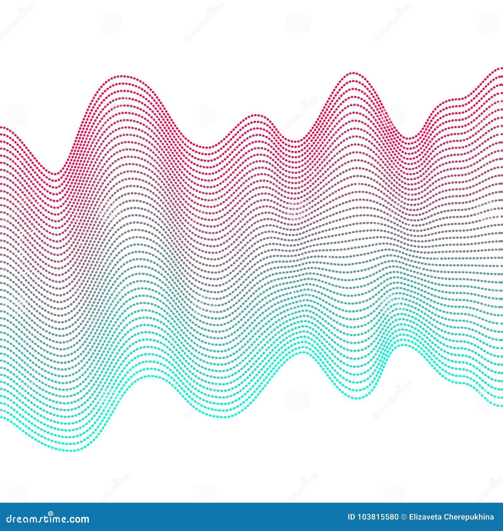 Ομαλά ζωηρόχρωμα κύματα στο άσπρο υπόβαθρο Αφηρημένες διανυσματικές διαστιγμένες γραμμές Επίδραση μίγματος Ρόδινο και μπλε κύμα