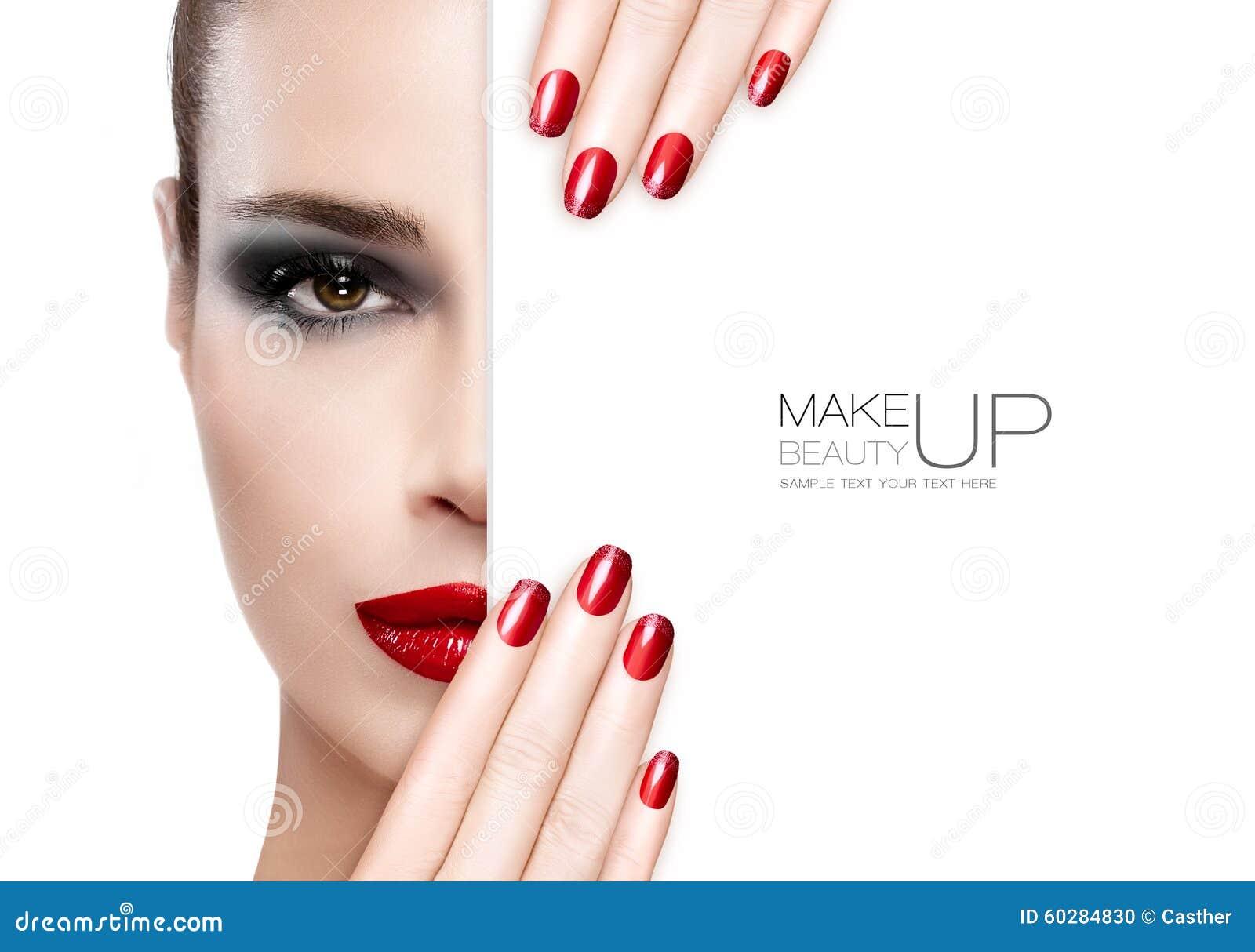 Ομορφιά Makeup και έννοια τέχνης καρφιών