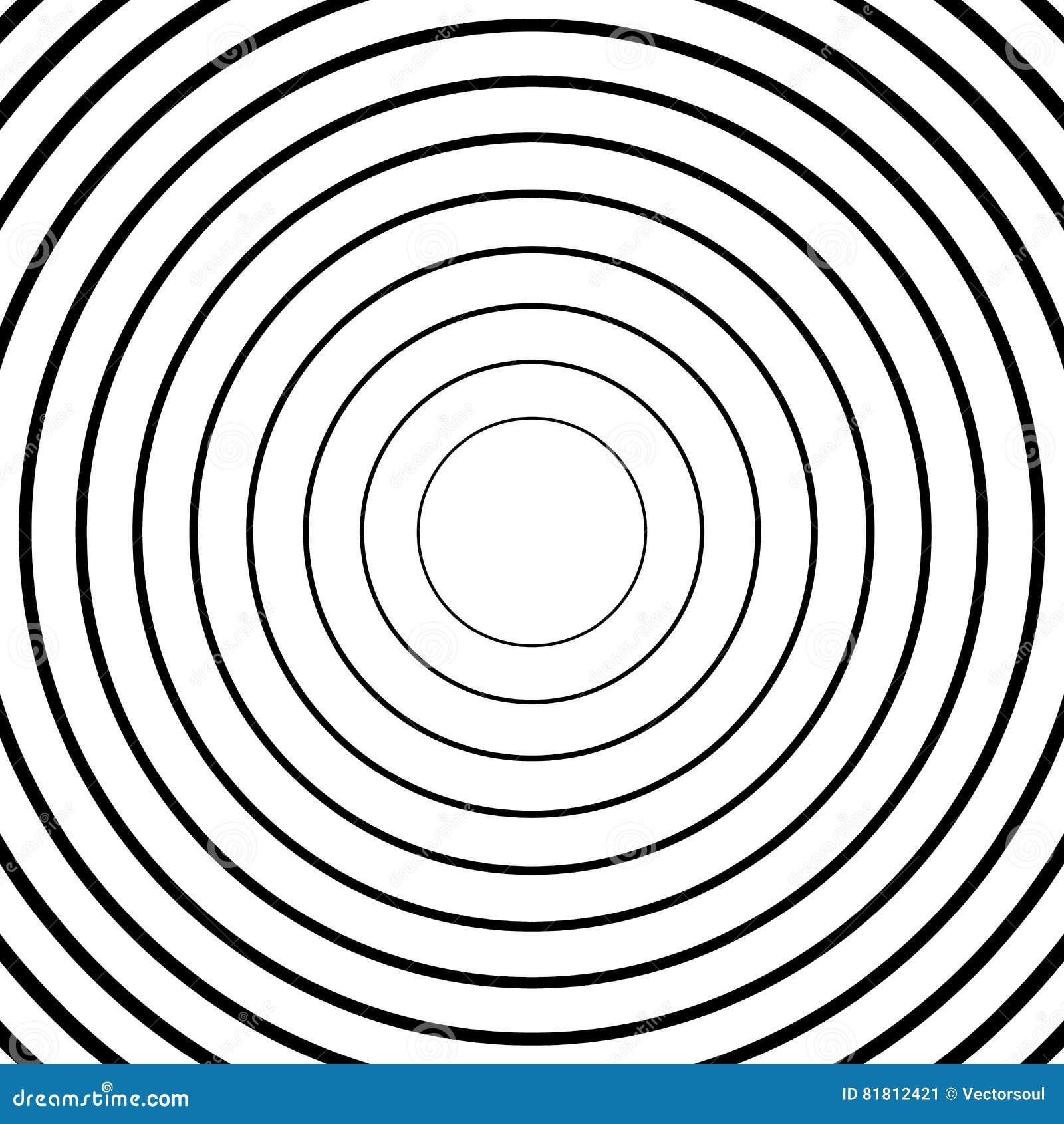Ομόκεντροι κύκλοι, ακτινωτά σχέδια γραμμών Μονοχρωματική περίληψη