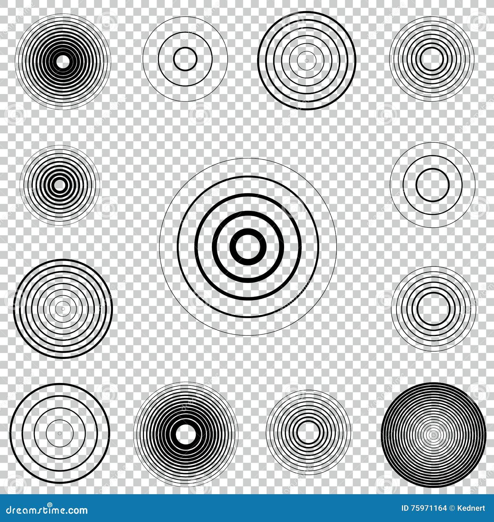 Ομόκεντρο σύνολο στοιχείων κύκλων οθονών ραντάρ Υγιές κύμα Στόχος περιστροφής κύκλων Σήμα ραδιοσταθμών