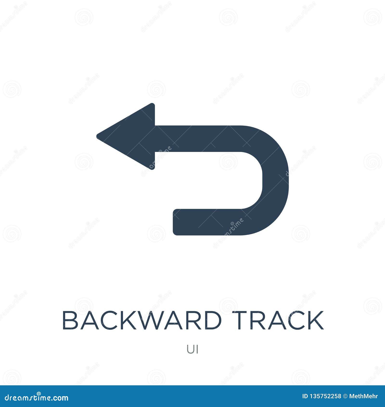 οπίσθιο εικονίδιο διαδρομής στο καθιερώνον τη μόδα ύφος σχεδίου οπίσθιο εικονίδιο διαδρομής που απομονώνεται στο άσπρο υπόβαθρο ο