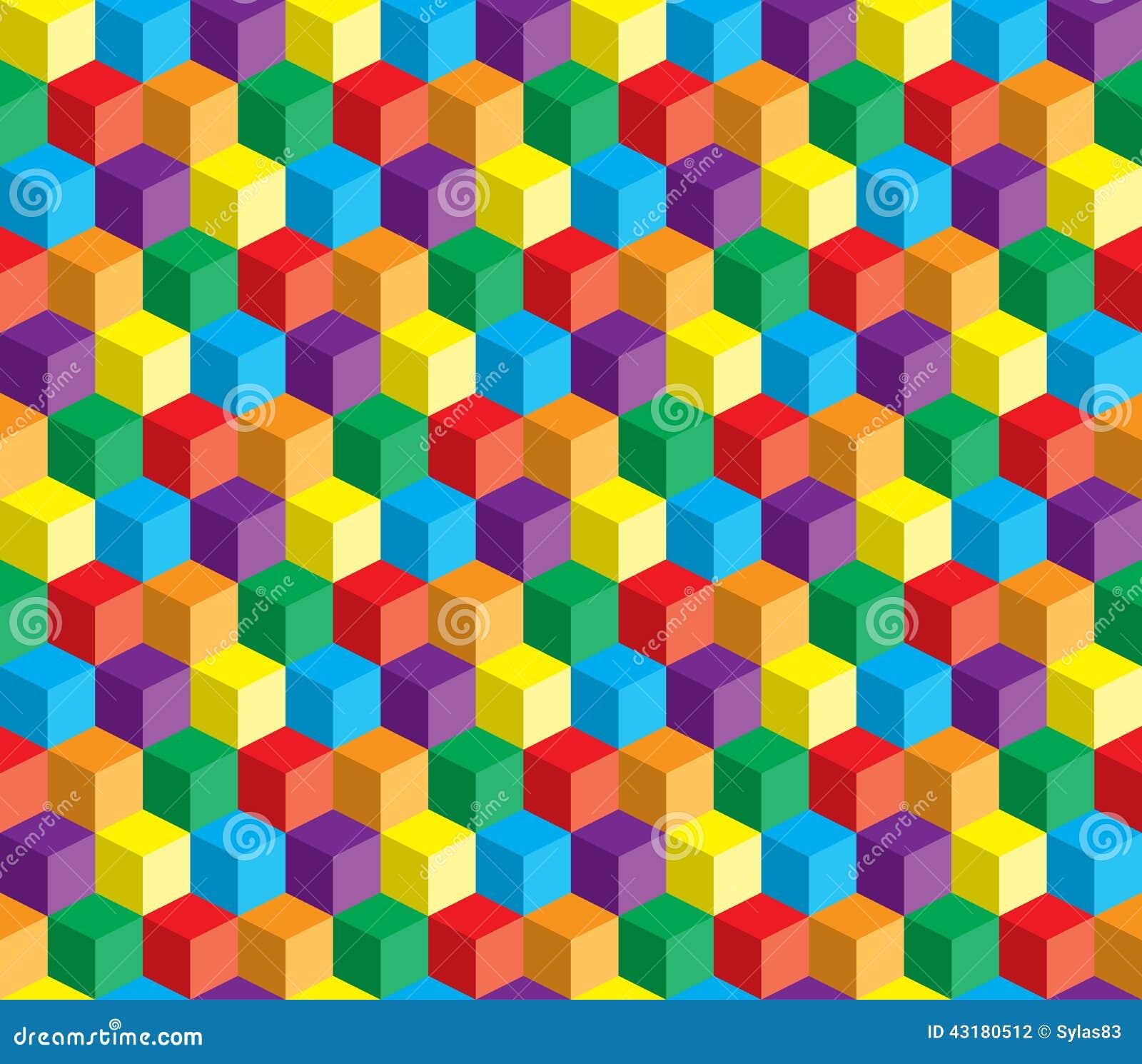 Οπτική παραίσθηση, ζωηρόχρωμος αφηρημένος διανυσματικός κύβος