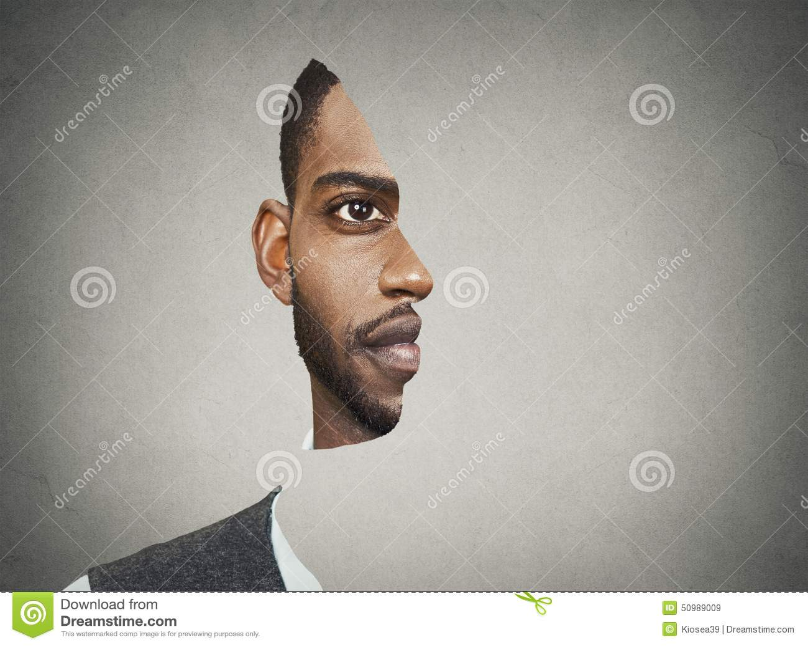 Οπτικό μέτωπο πορτρέτου παραίσθησης με το αποκόπτω σχεδιάγραμμα ενός ατόμου
