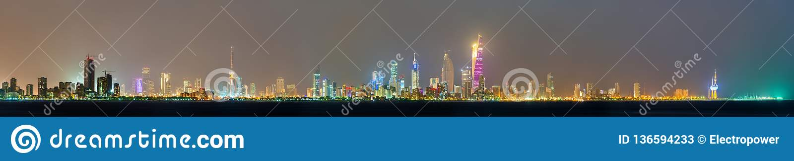 Ορίζοντας νύχτας της πόλης του Κουβέιτ