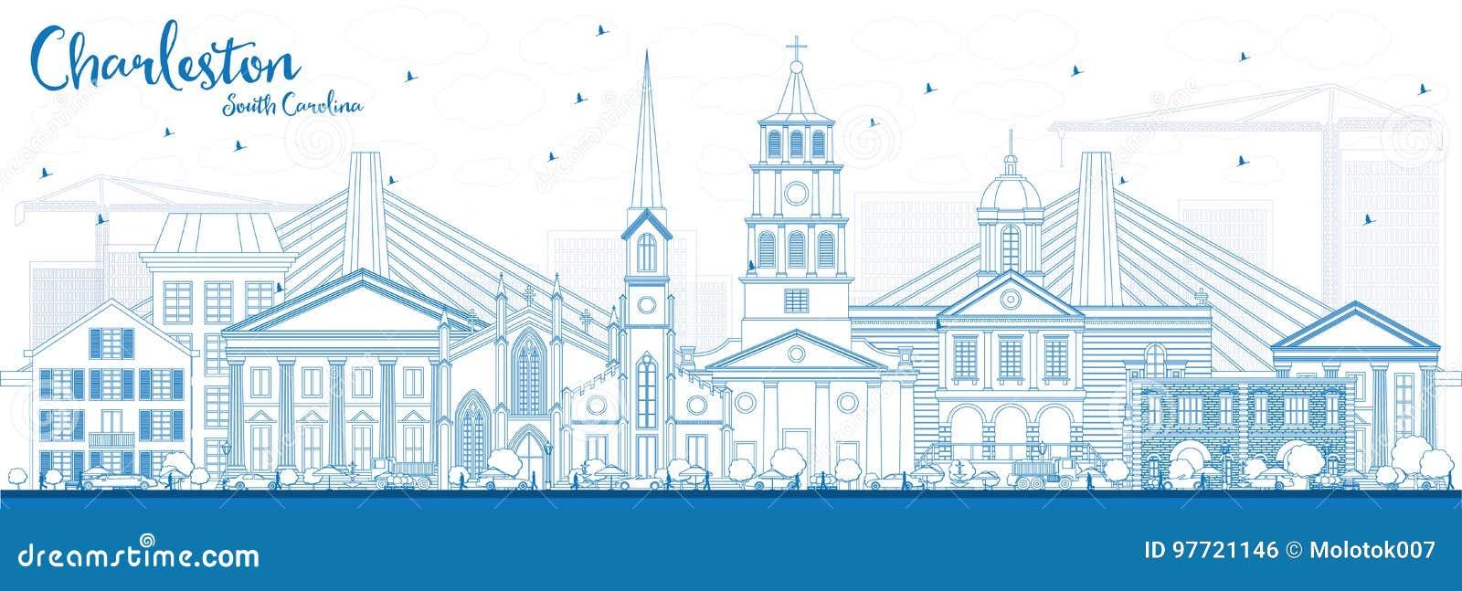 Ορίζοντας της νότιας Καρολίνας του Τσάρλεστον περιλήψεων με τα μπλε κτήρια