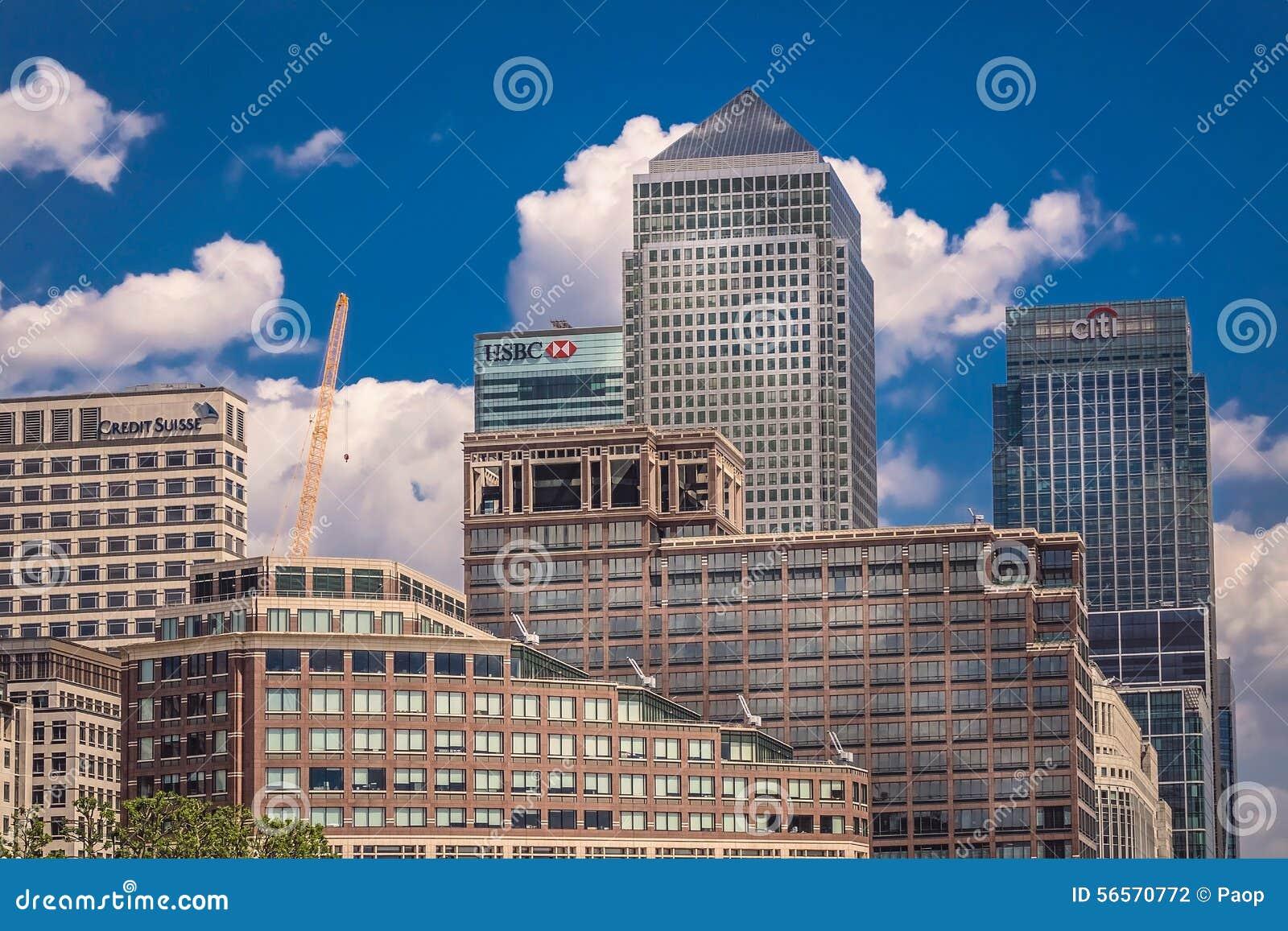 Download Ορίζοντας Canary Wharf εκδοτική φωτογραφία. εικόνα από υψηλός - 56570772