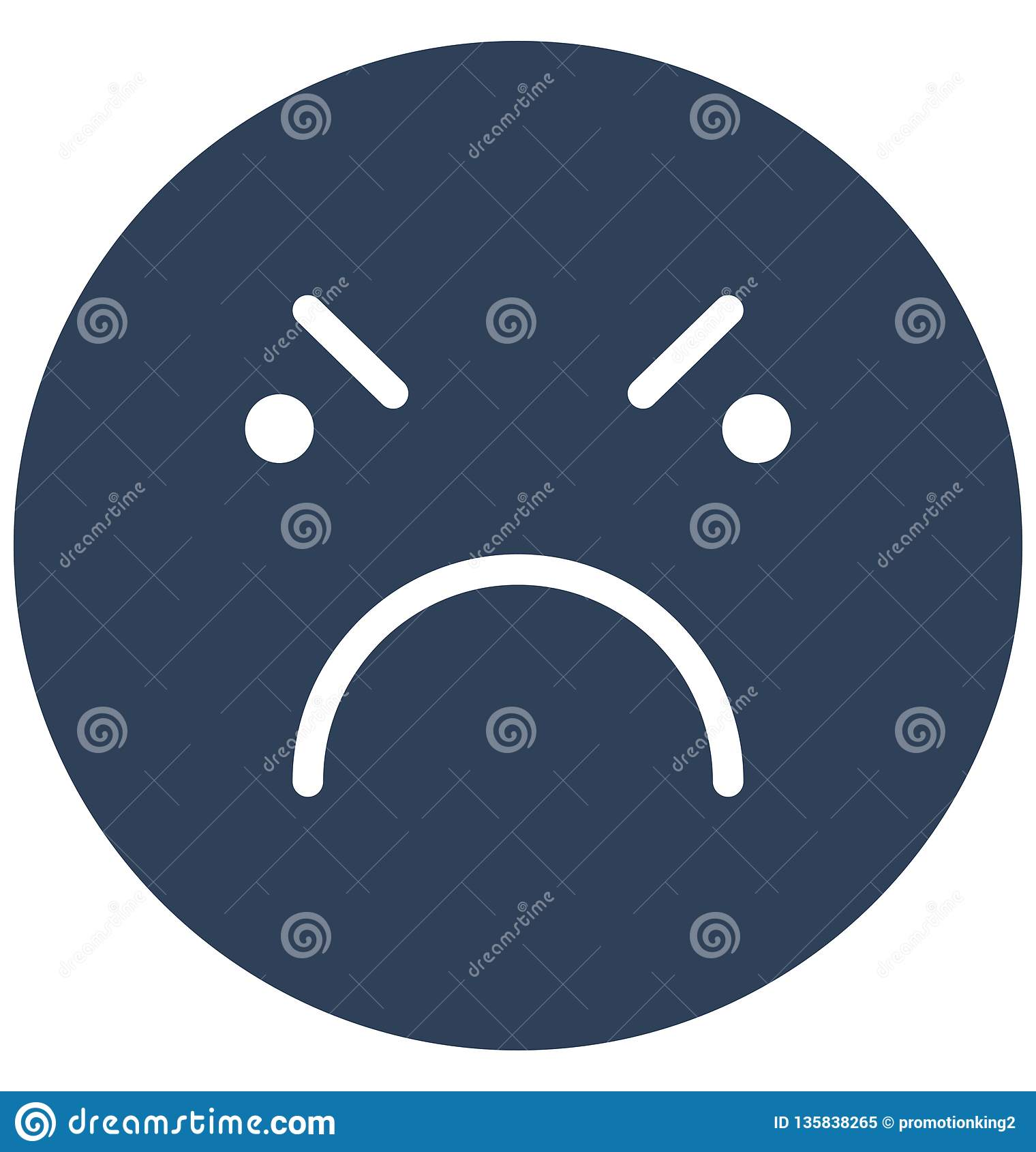 οργή, απομονωμένο διάνυσμα εικονίδιο βλέμματος emoticon που μπορεί εύκολα να τροποποιήσει ή να εκδώσει