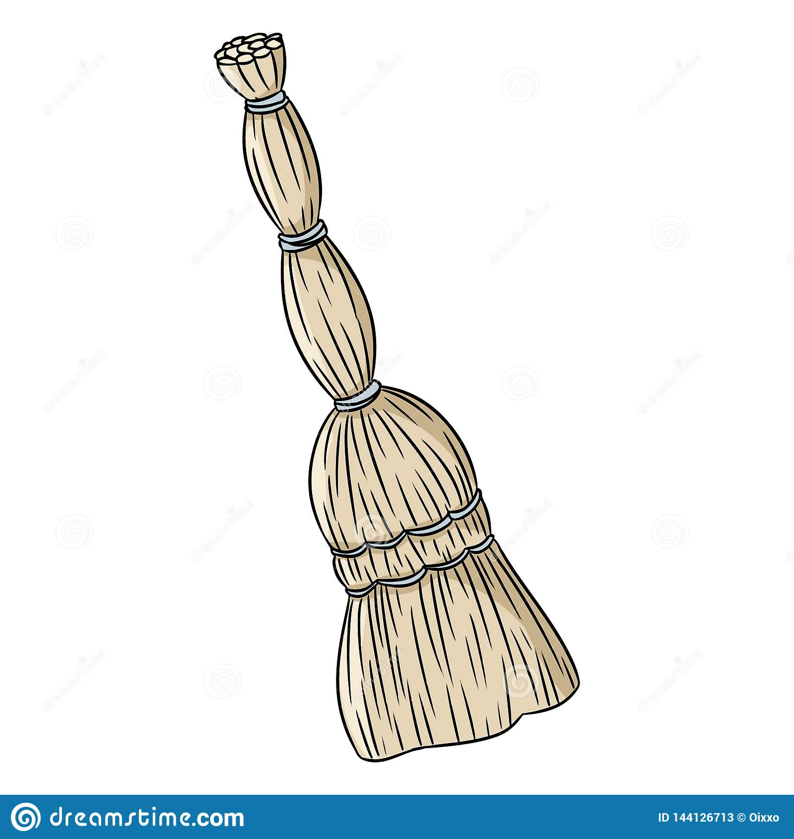 Οργανική σκούπα σκούπας doodle Συρμένη χέρι διανυσματική εικόνα