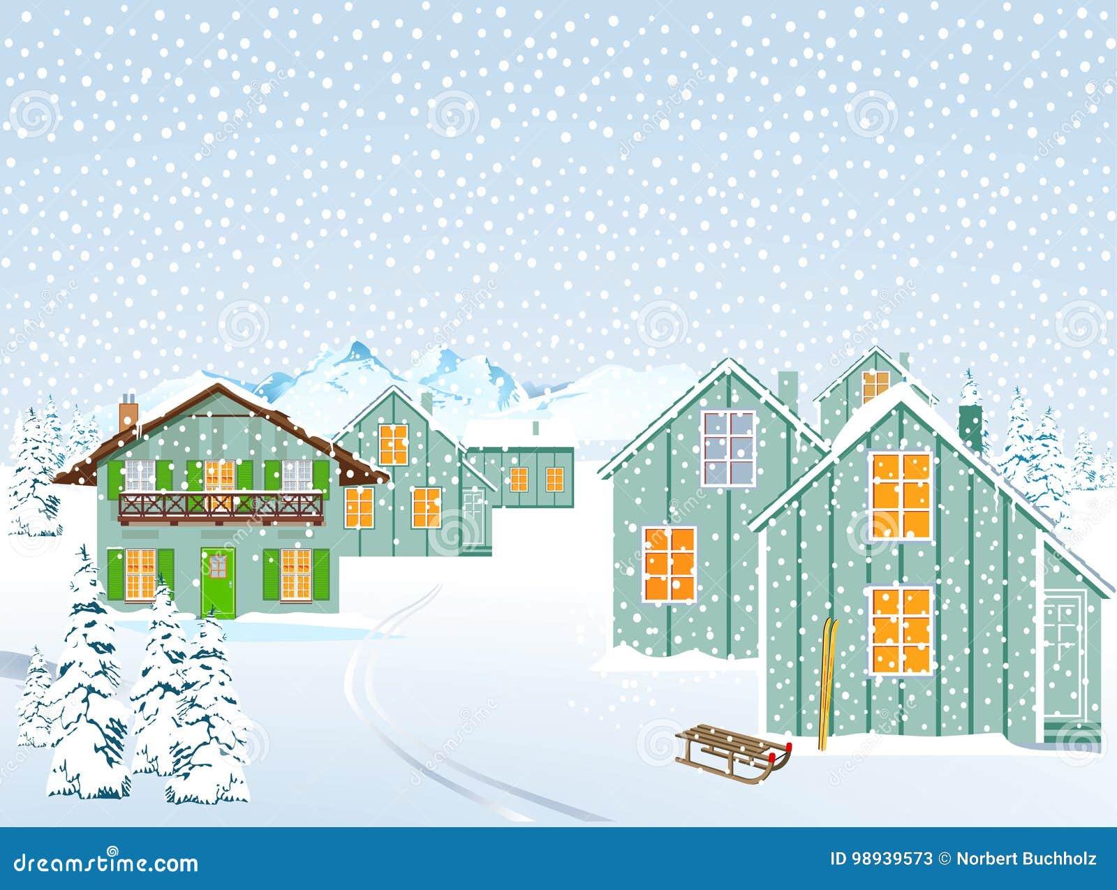 Ορεινό χωριό το χειμώνα