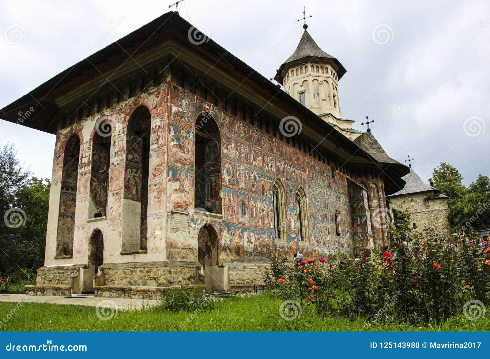 Ορθόδοξο χρωματισμένο μοναστήρι εκκλησιών Moldovita, Μολδαβία, Bucovina,