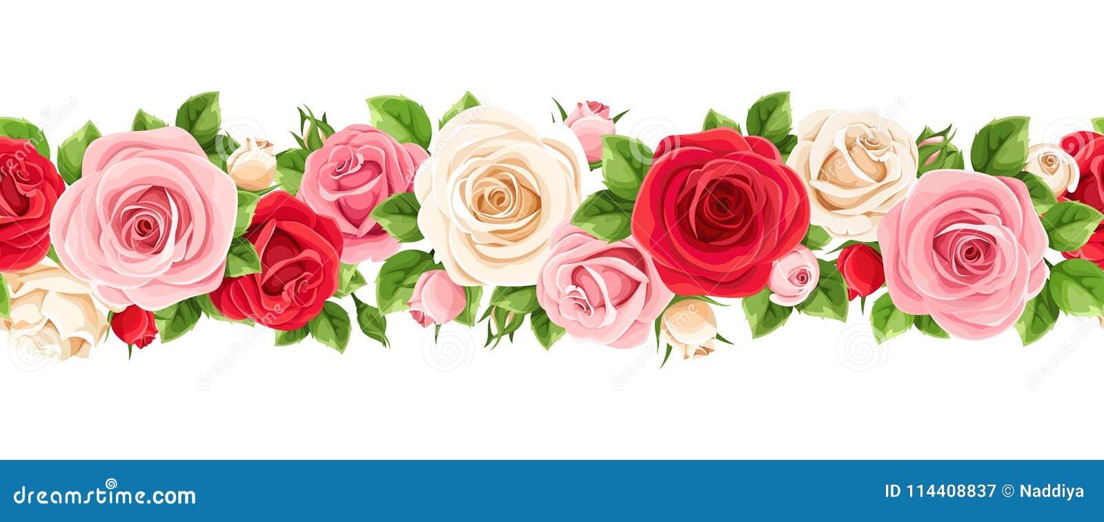 Οριζόντια άνευ ραφής γιρλάντα με τα κόκκινα, ρόδινα και άσπρα τριαντάφυλλα επίσης corel σύρετε το διάνυσμα απεικόνισης