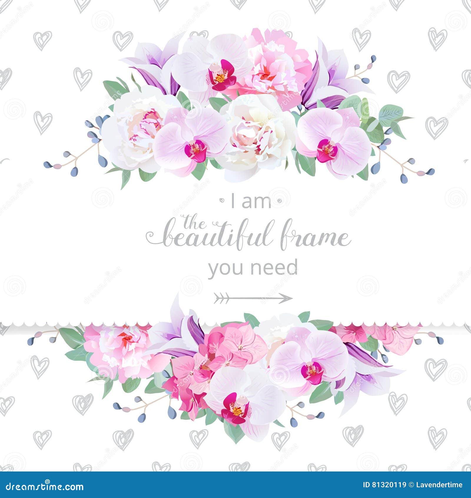 Οριζόντια κάρτα γαμήλιου floral διανυσματική σχεδίου Η ρόδινη και άσπρη peony, πορφυρή ορχιδέα, hydrangea, ιώδες campanula ανθίζε
