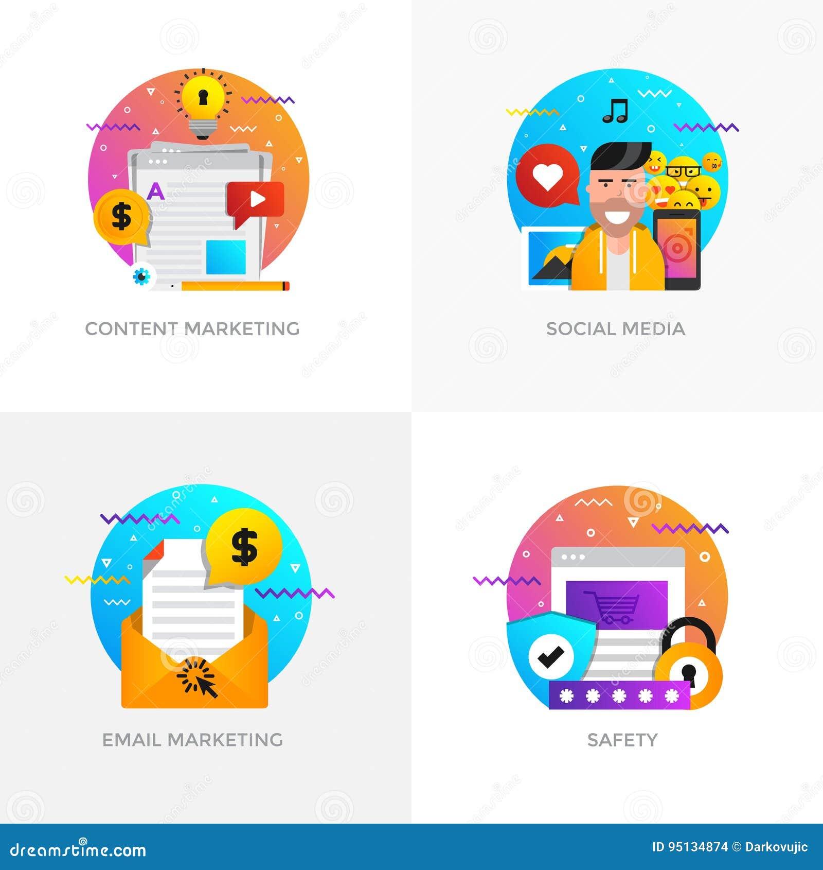 Οριζόντια σχεδιασμένες έννοιες - μάρκετινγκ περιεχομένου, κοινωνικά μέσα, ηλεκτρονικό ταχυδρομείο
