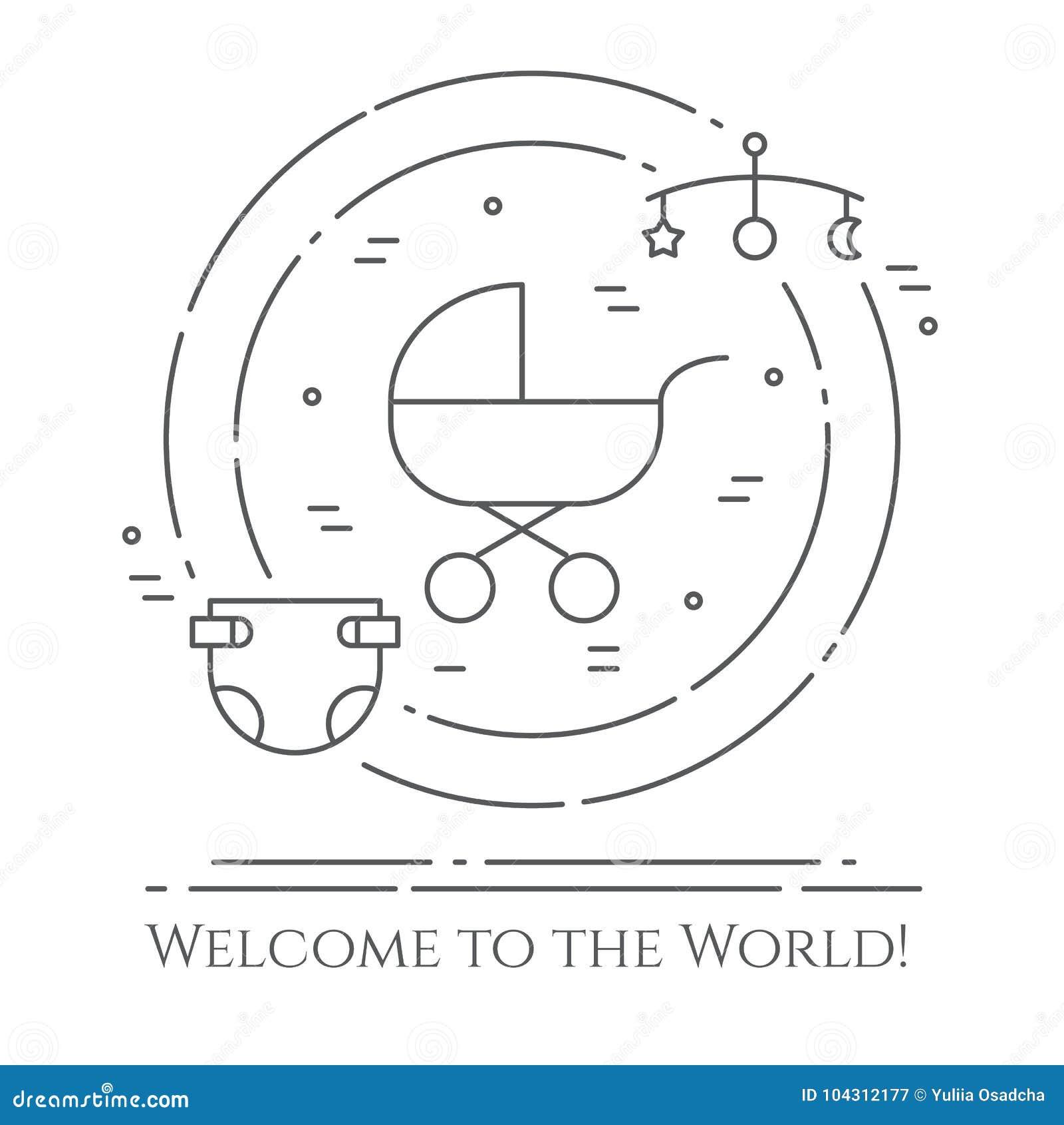 Οριζόντιο έμβλημα θέματος μωρών Εικονογράμματα του μωρού, του καροτσακιού, του παχνιού, κινητός, των παιχνιδιών, του κουδουνίσματ
