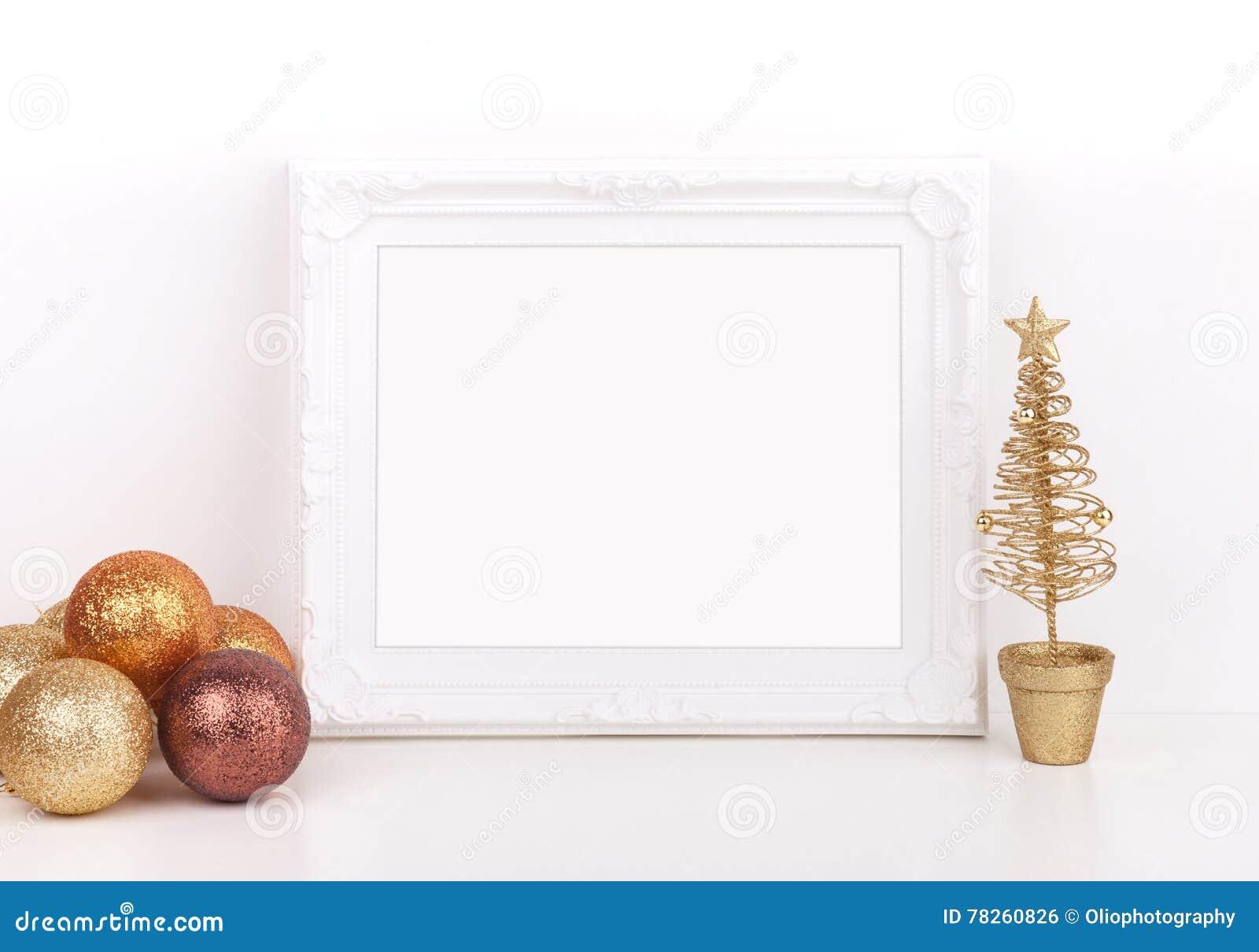 Ορισμένη φωτογραφία αποθεμάτων Χριστουγέννων πρότυπο με το άσπρο πλαίσιο