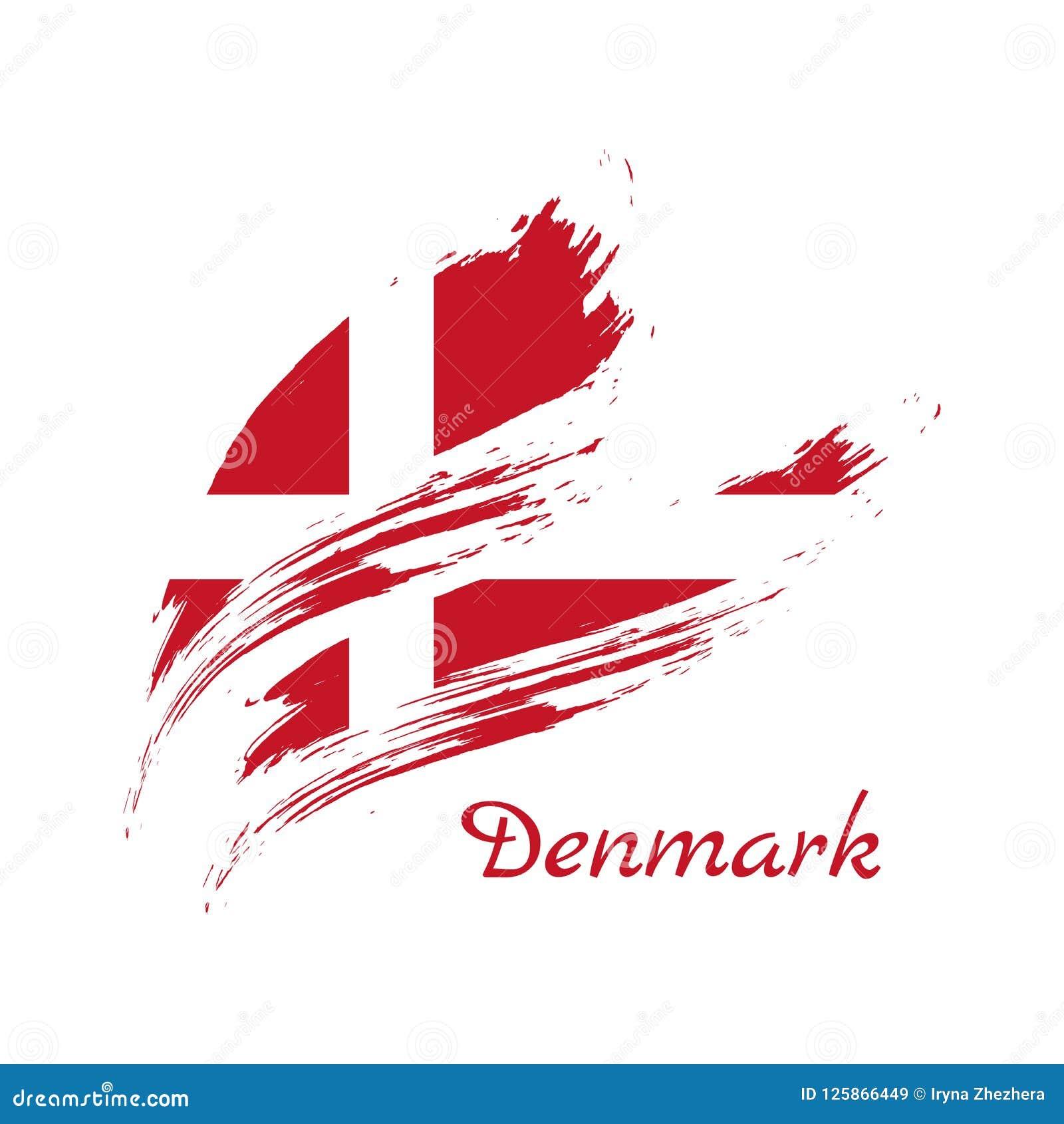 Ορισμένη Grunge σημαία της Δανίας Υπόβαθρο κτυπήματος βουρτσών, διανυσματική απεικόνιση