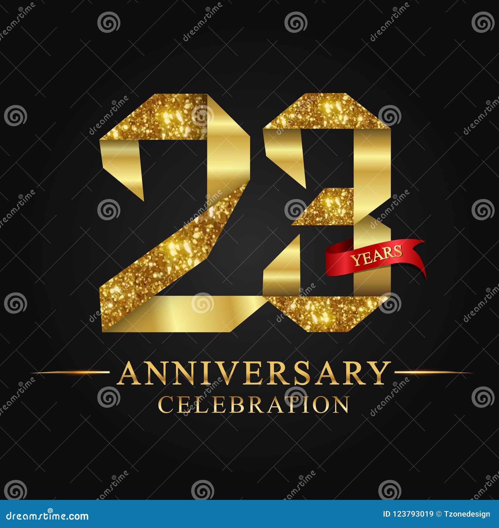 23$ος εορτασμός ετών επετείου logotype Χρυσός αριθμός κορδελλών λογότυπων και κόκκινη κορδέλλα στο μαύρο υπόβαθρο