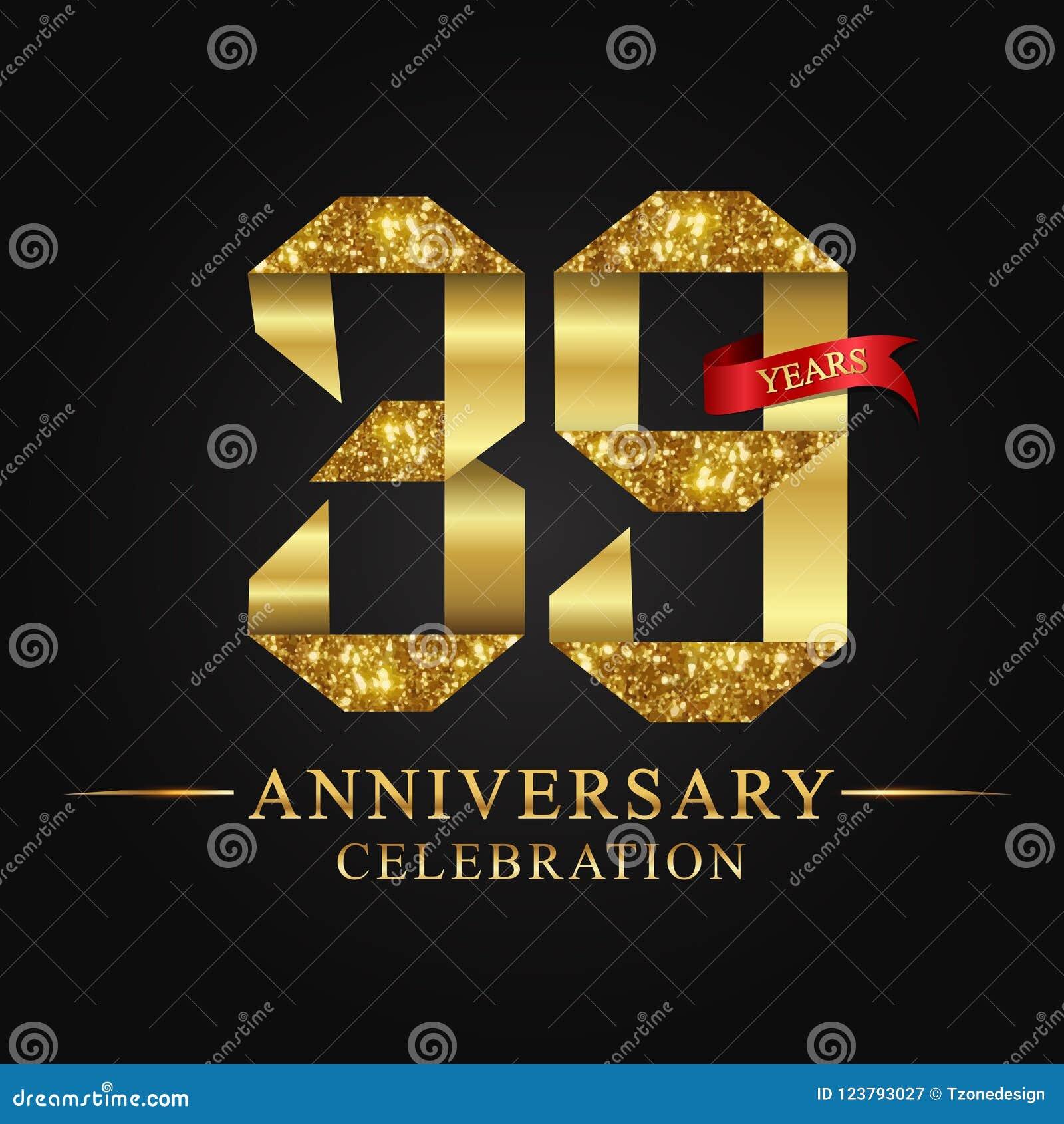 39ος εορτασμός ετών επετείου logotype Χρυσός αριθμός κορδελλών λογότυπων και κόκκινη κορδέλλα στο μαύρο υπόβαθρο