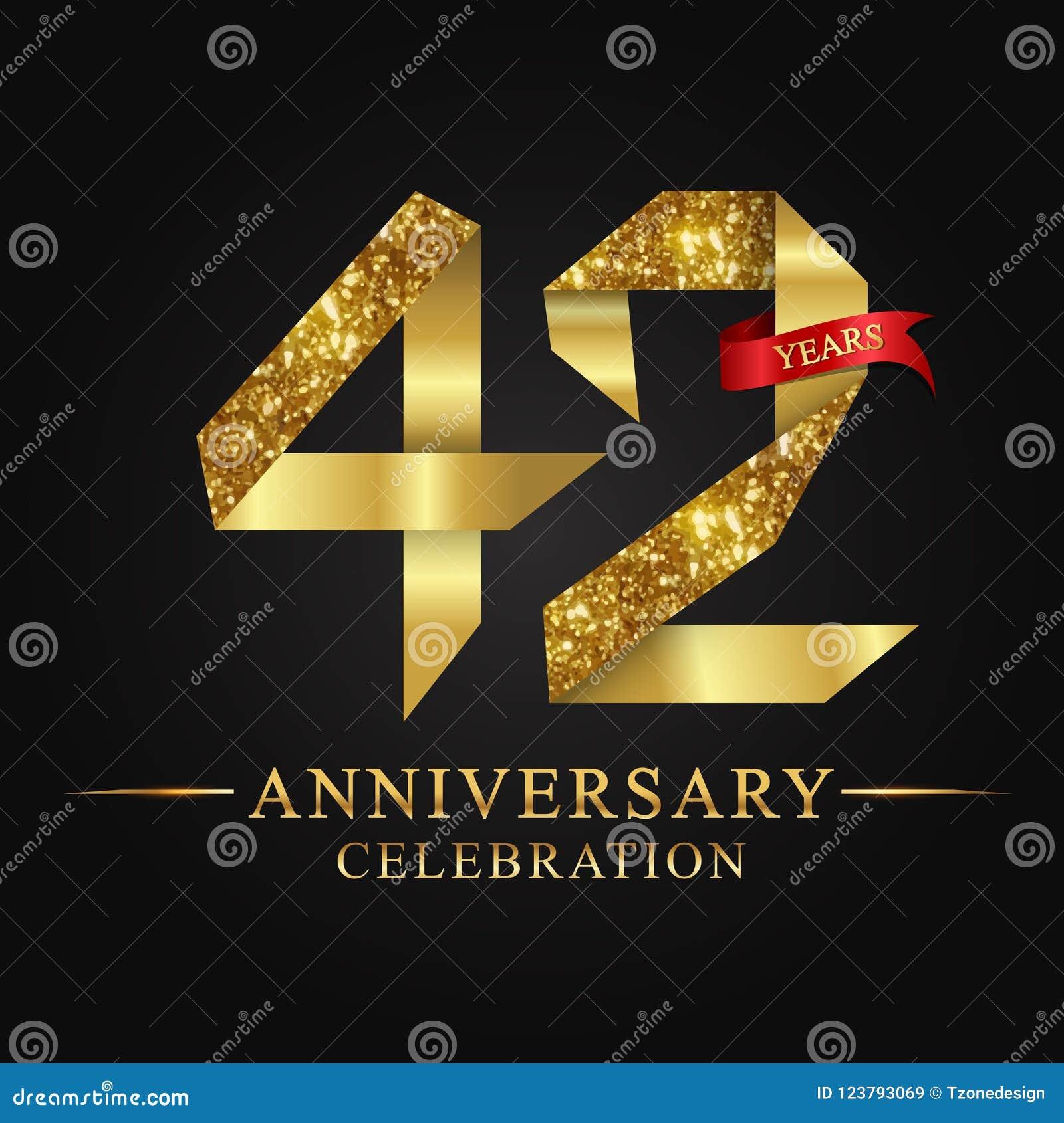 42$ος εορτασμός ετών επετείου logotype Χρυσός αριθμός κορδελλών λογότυπων και κόκκινη κορδέλλα στο μαύρο υπόβαθρο