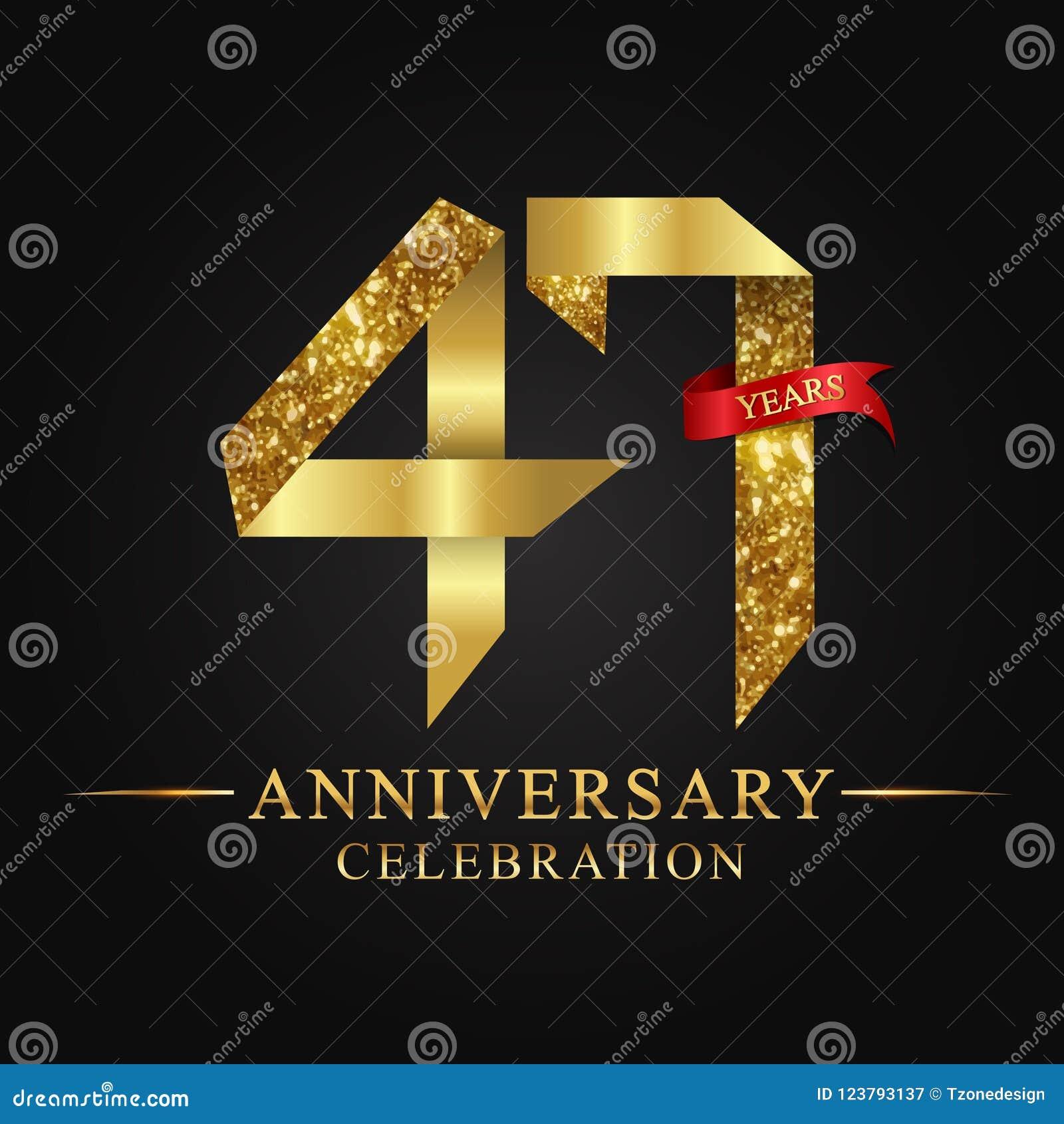 47ος εορτασμός ετών επετείου logotype Χρυσός αριθμός κορδελλών λογότυπων και κόκκινη κορδέλλα στο μαύρο υπόβαθρο