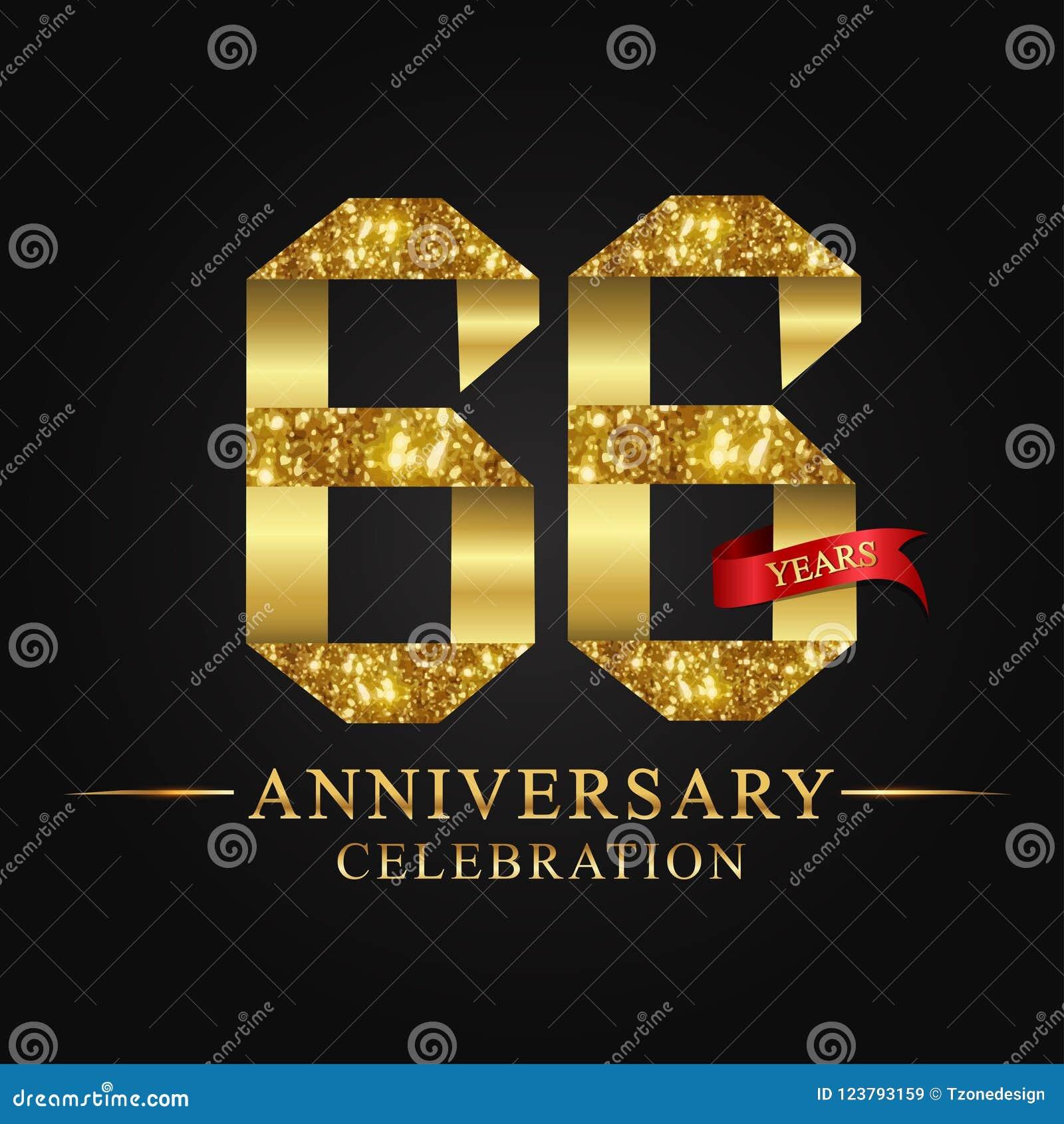 66ος εορτασμός ετών επετείου logotype Χρυσός αριθμός κορδελλών λογότυπων και κόκκινη κορδέλλα στο μαύρο υπόβαθρο