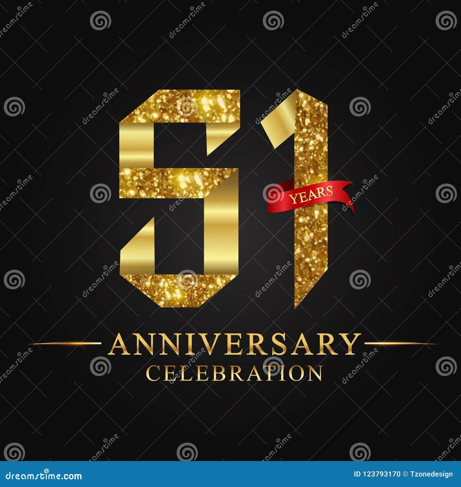 51$ος εορτασμός ετών επετείου logotype Χρυσός αριθμός κορδελλών λογότυπων και κόκκινη κορδέλλα στο μαύρο υπόβαθρο
