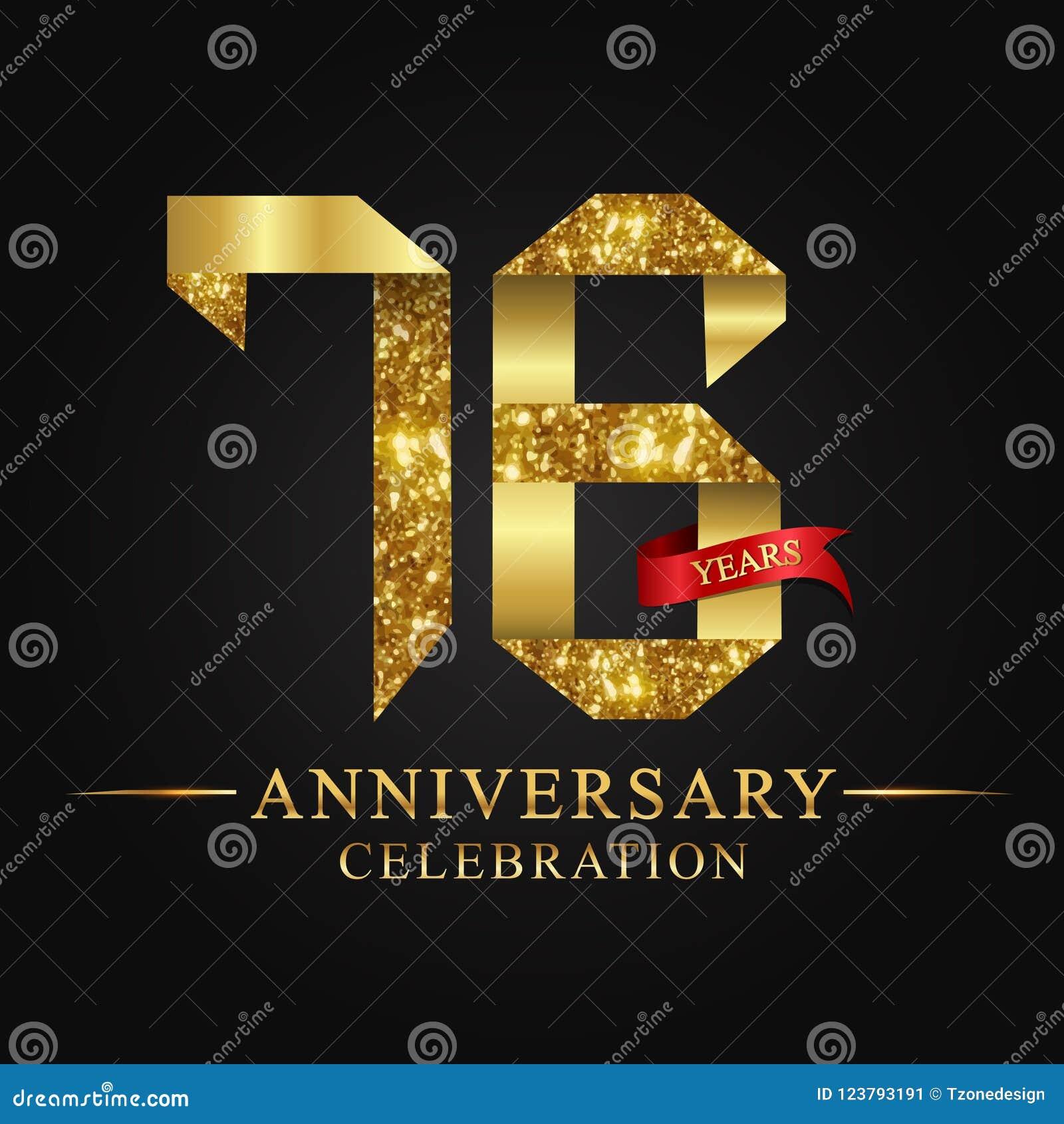 76ος εορτασμός ετών επετείου logotype Χρυσός αριθμός κορδελλών λογότυπων και κόκκινη κορδέλλα στο μαύρο υπόβαθρο