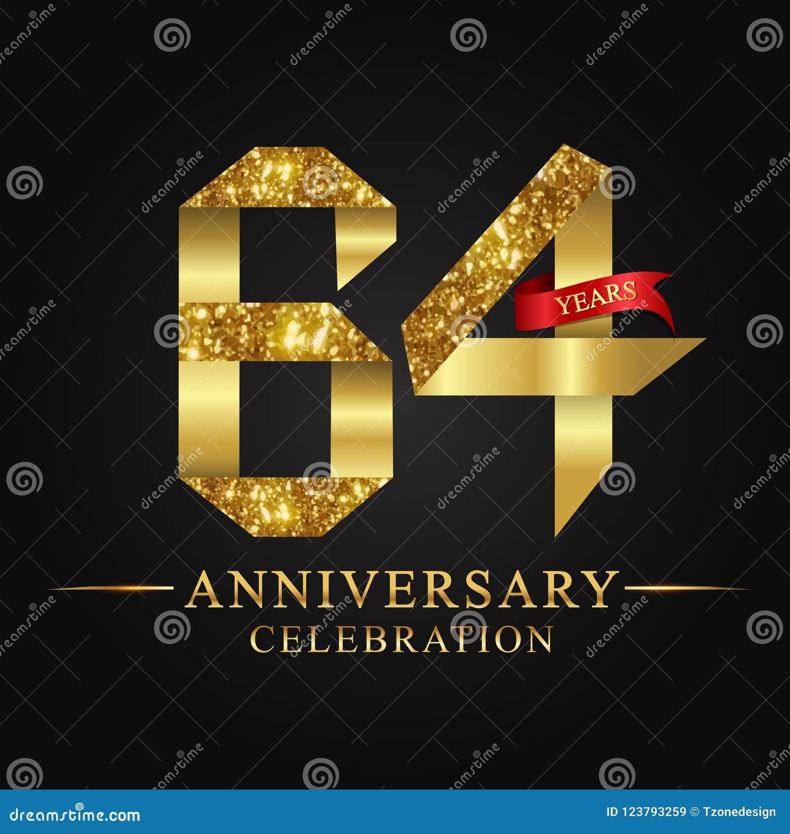 64ος εορτασμός ετών επετείου logotype Χρυσός αριθμός κορδελλών λογότυπων και κόκκινη κορδέλλα στο μαύρο υπόβαθρο