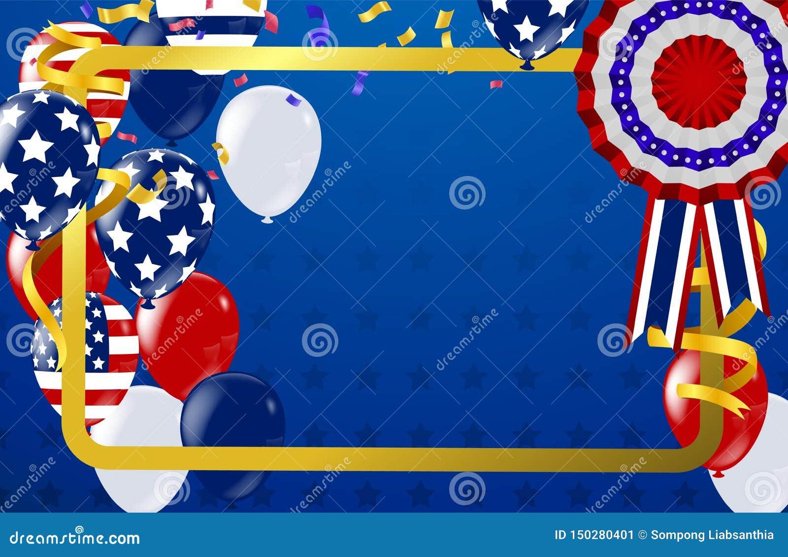4ος ΗΠΑ της ημέρας της ανεξαρτησίας Ιουλίου, του διανυσματικού προτύπου με τη αμερικανική σημαία και των χρωματισμένων μπαλονιών