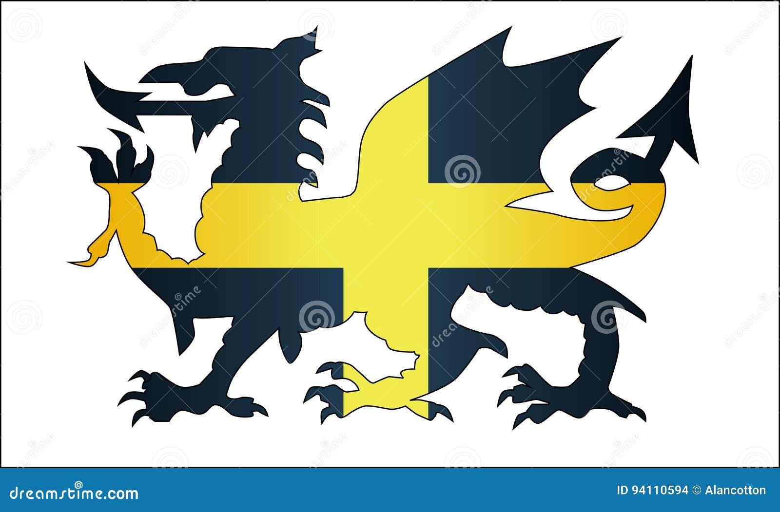 Ουαλλέζικος δράκος Άγιος Δαβίδ Flag
