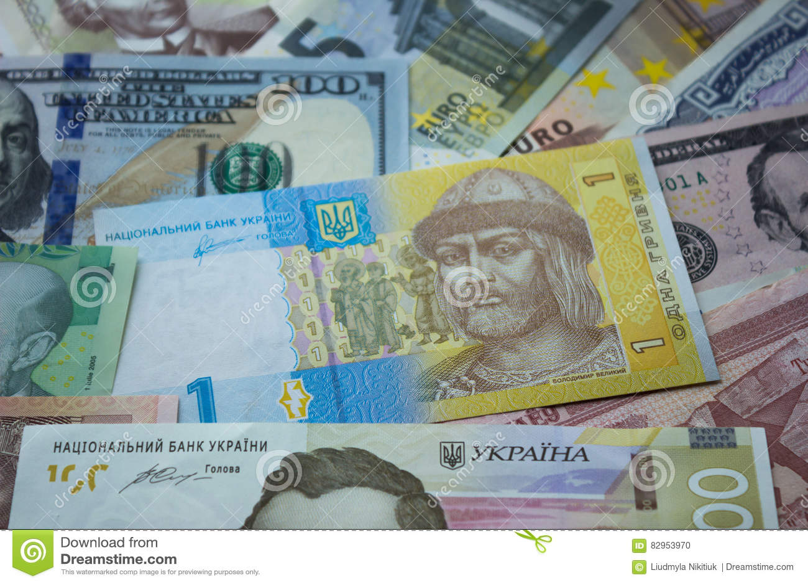 Ουκρανικό hryvnia, λογαριασμοί δολαρίων, ευρώ και άλλα χρήματα BA χρημάτων